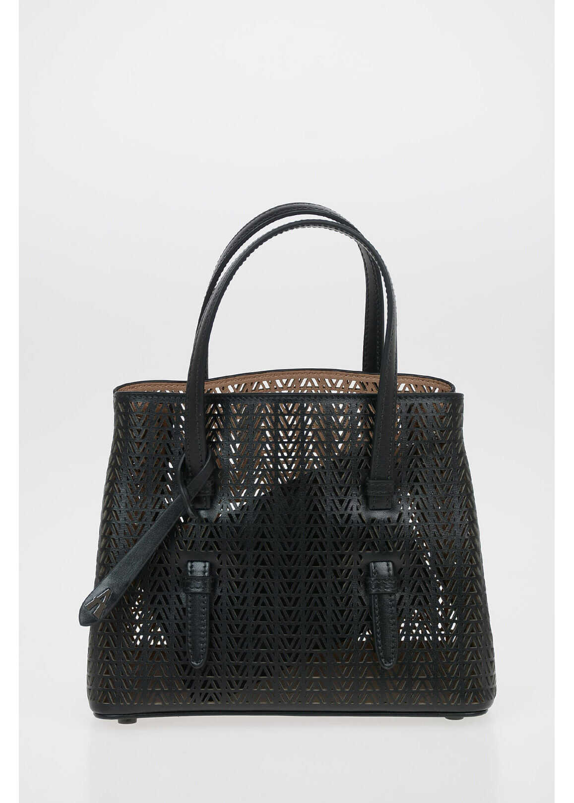 Alaïa Laser Cut Leather MINA SMALL Tote Bag with Removable Shoulde BLACK imagine b-mall.ro