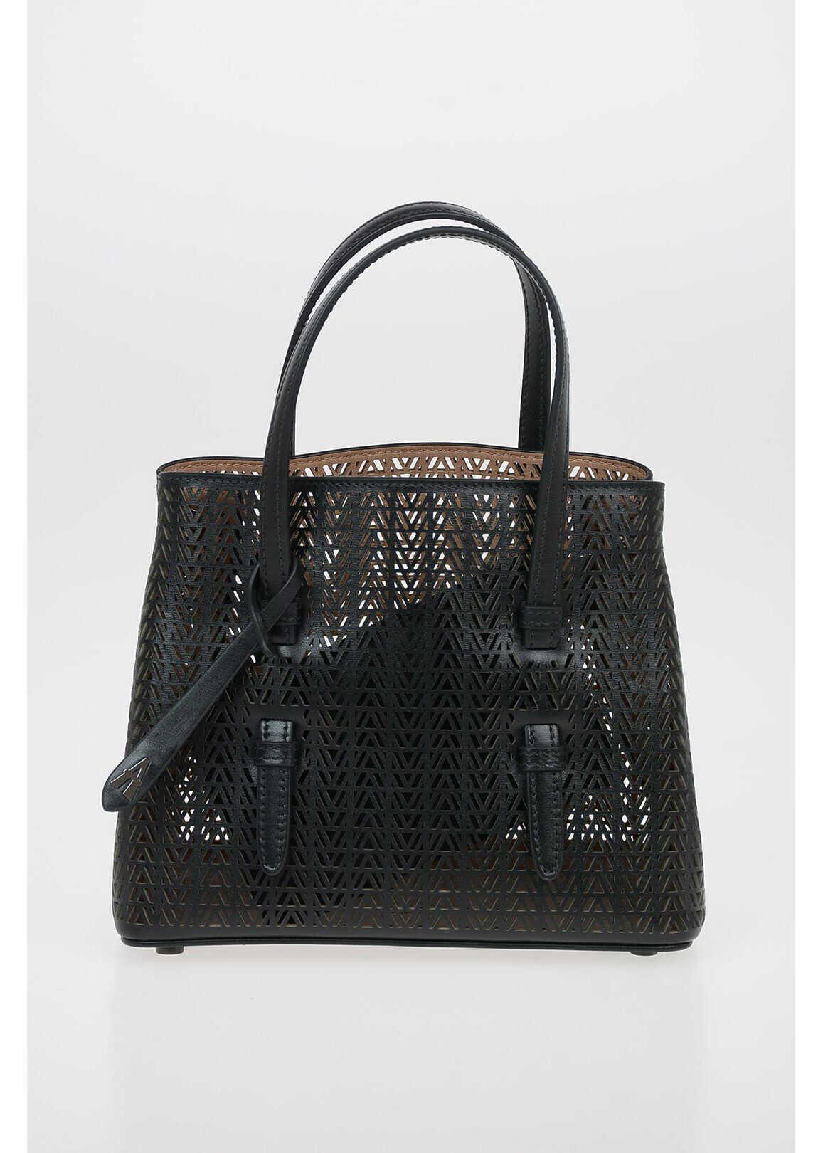 Alaïa Laser Cut Leather MINA MINI Tote Bag with Removable Shoulder BLACK imagine b-mall.ro