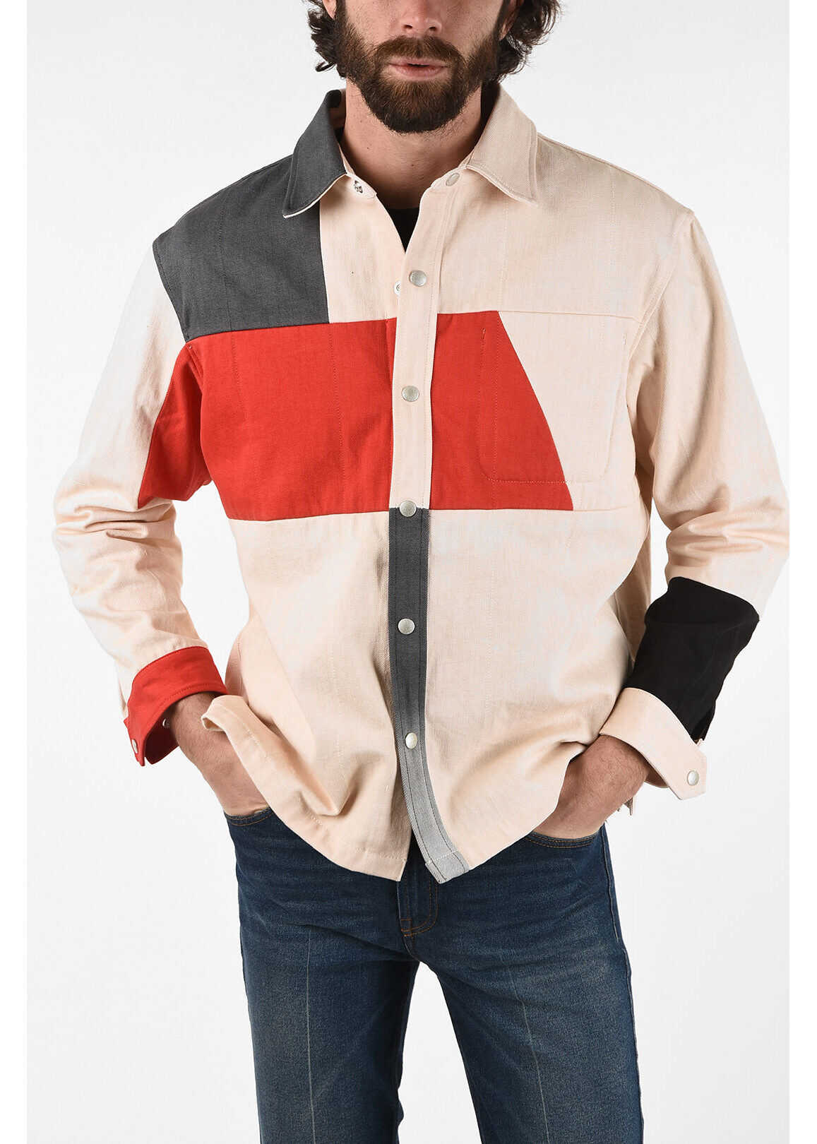 Diesel RED TAG Color Block Overshirt with Inner Pocket BEIGE imagine
