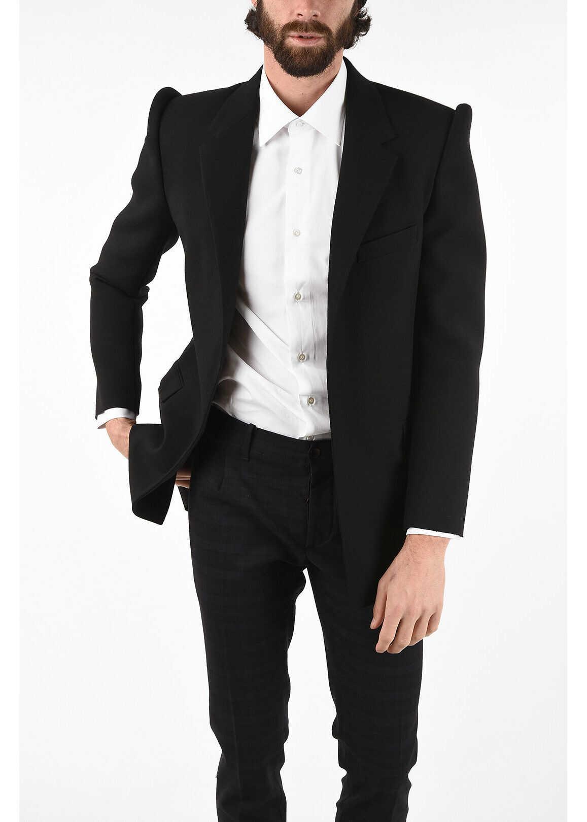 Balenciaga Virgin Wool Open Front BALEN Blazer BLACK imagine