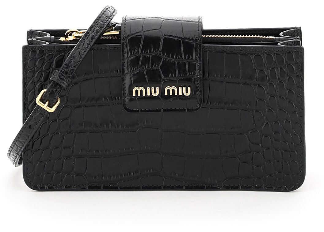 Miu Miu Crocodile-Print Mini Bag 5BP042 V OOO 2B8G NERO imagine b-mall.ro