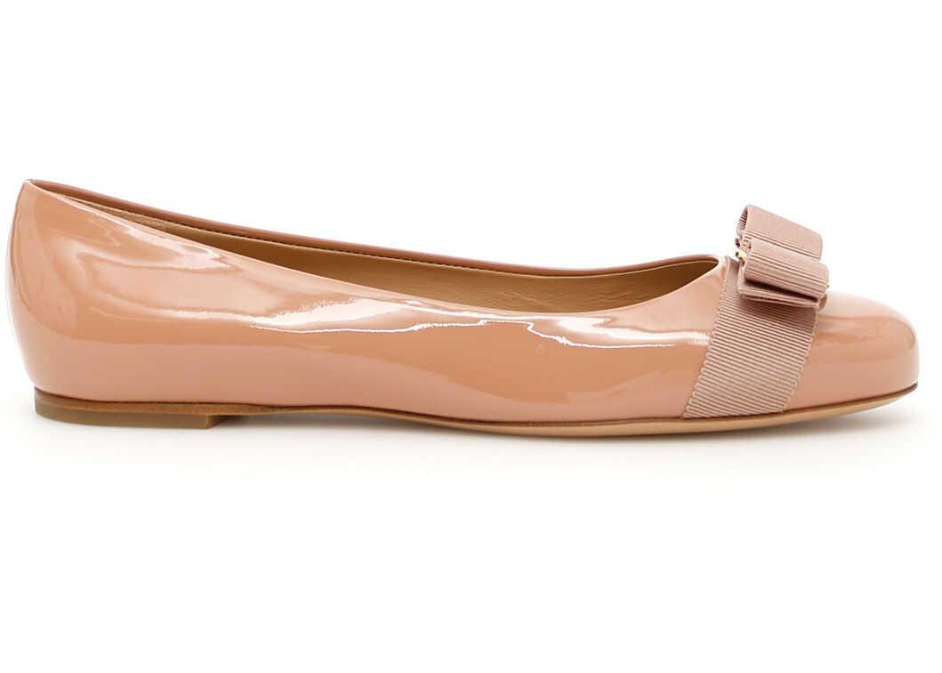 Salvatore Ferragamo Patent Varina Ballerinas 01A1810676235 NEW BLUSH imagine b-mall.ro