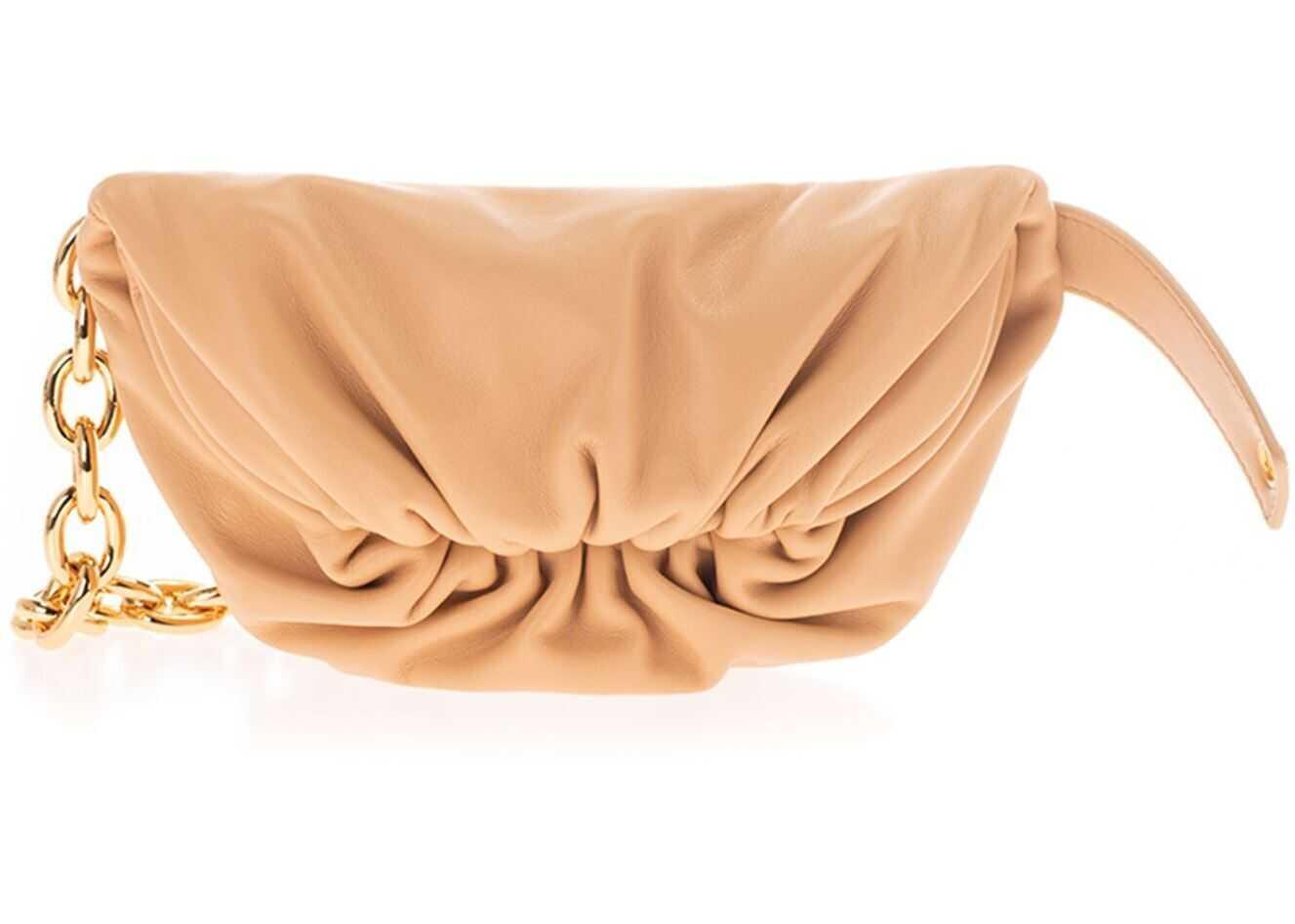 Bottega Veneta The Pouch Mini Leather Belt Bag In Beige 651445VCP412700 Beige imagine b-mall.ro