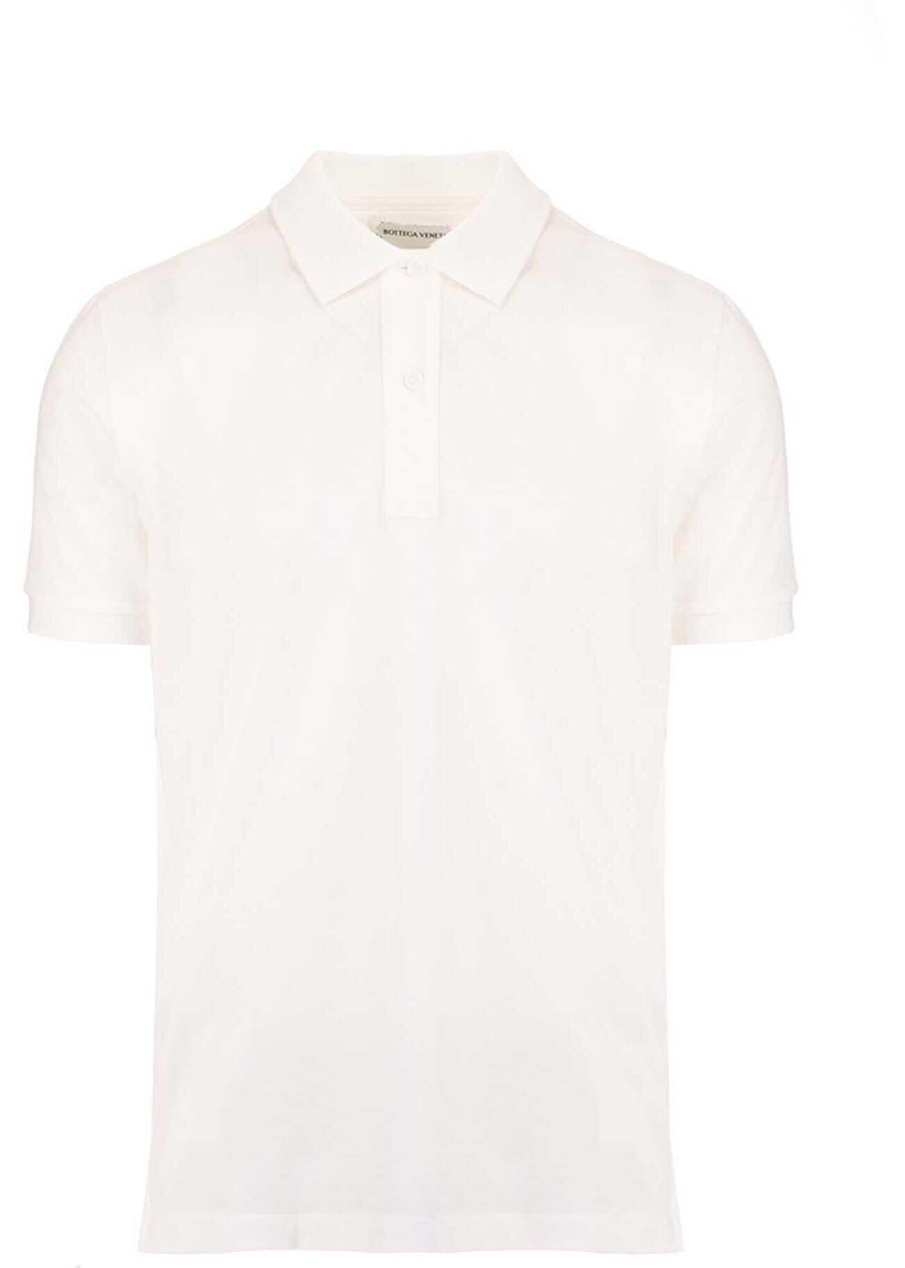 Bottega Veneta Cotton Polo Shirt In White White imagine