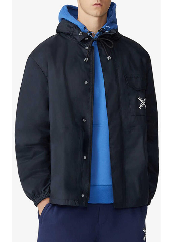 Kenzo Logo Print Hooded Rain Jacket Black imagine