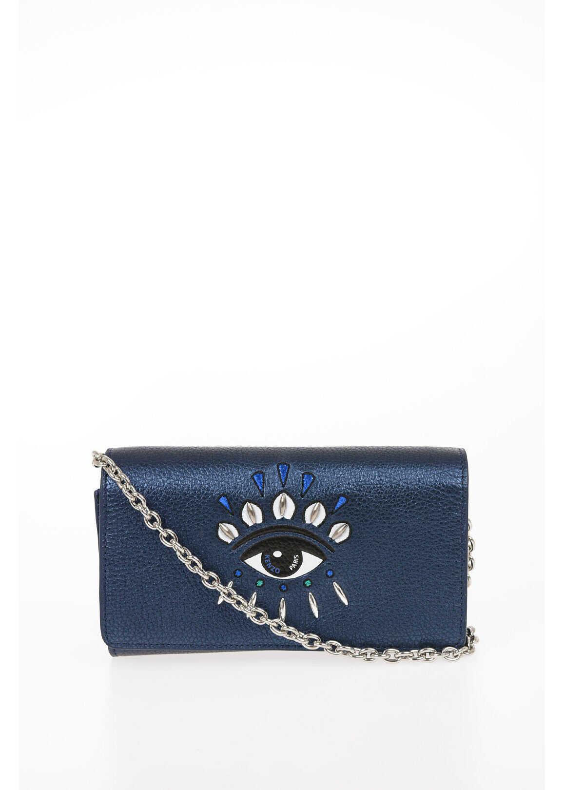 Kenzo Textured Leather Mini Crossbody Bag With Jewel Details BLUE imagine b-mall.ro