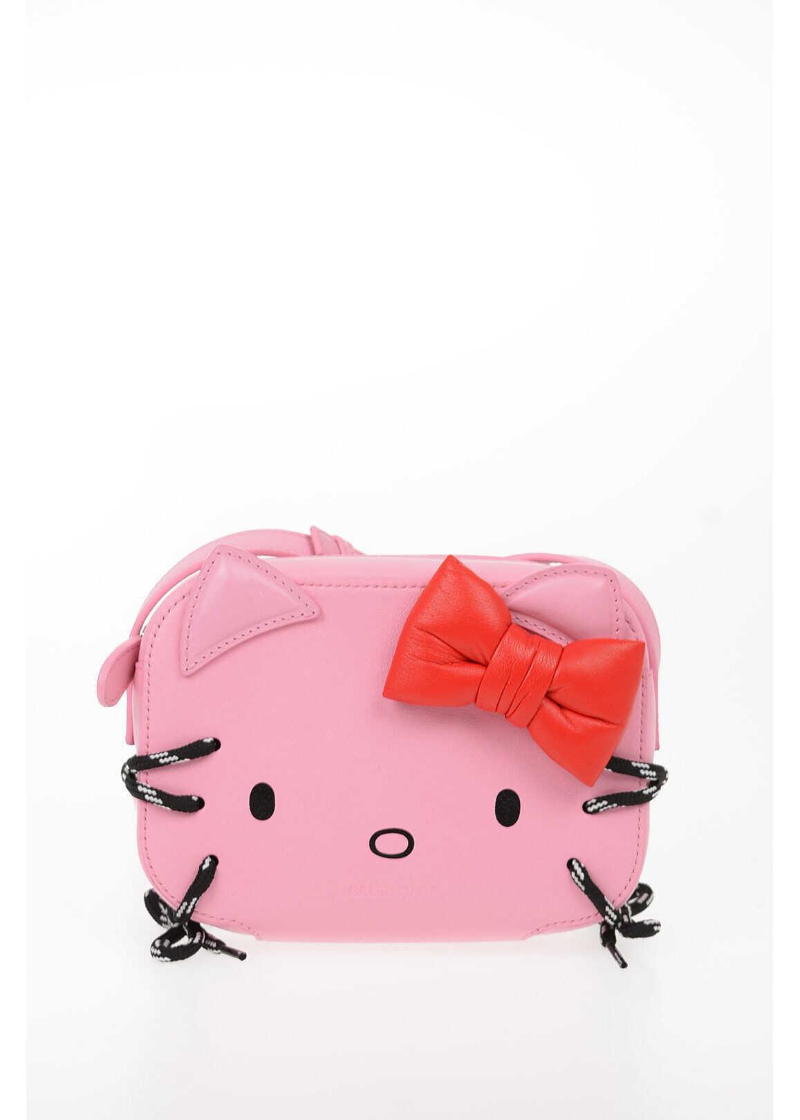 Balenciaga Leather HELLO KITTY Mini Crossbody Bag PINK imagine b-mall.ro