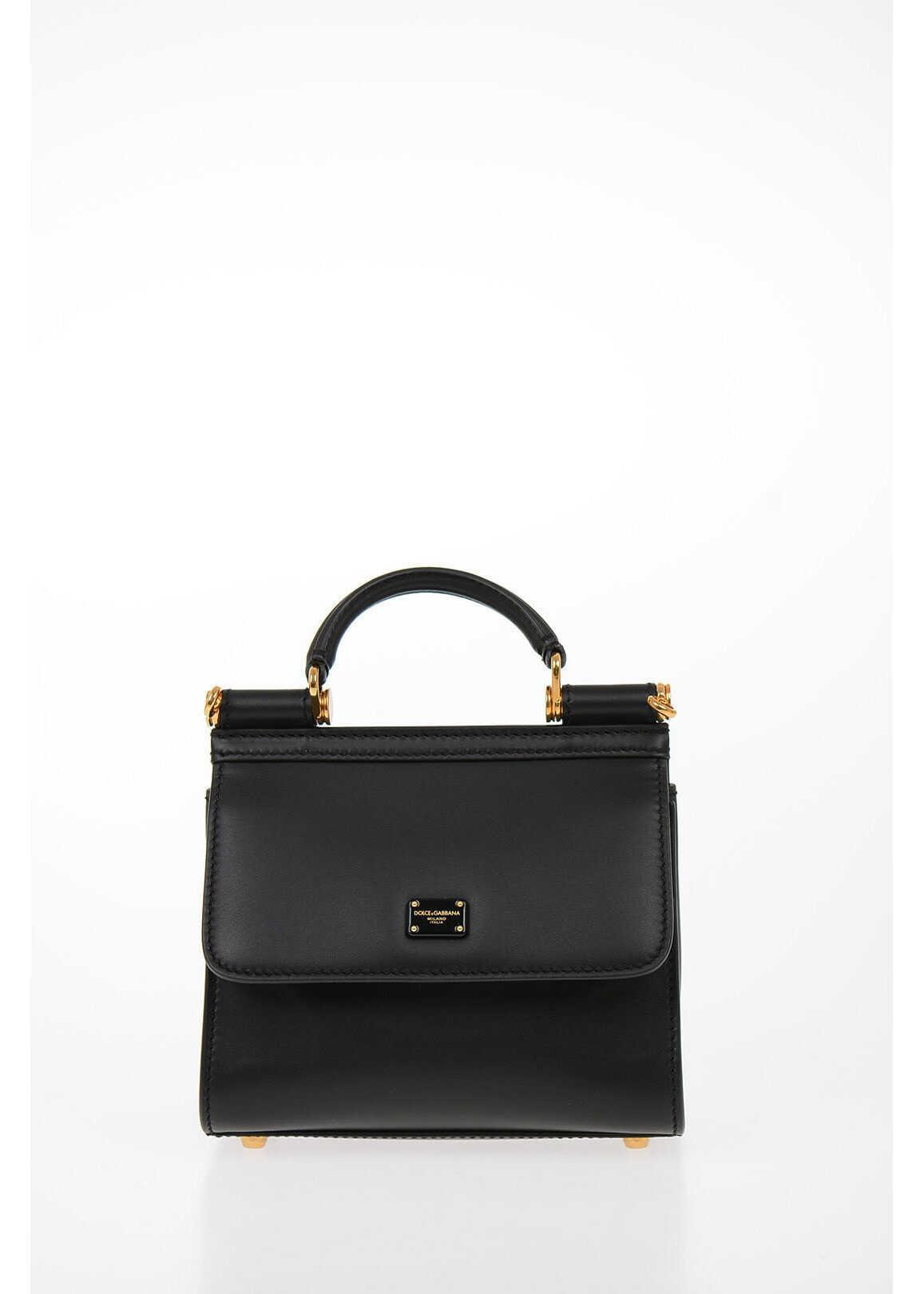Dolce & Gabbana Leather SICILY 58 Mini Crossbody Bag BLACK imagine b-mall.ro