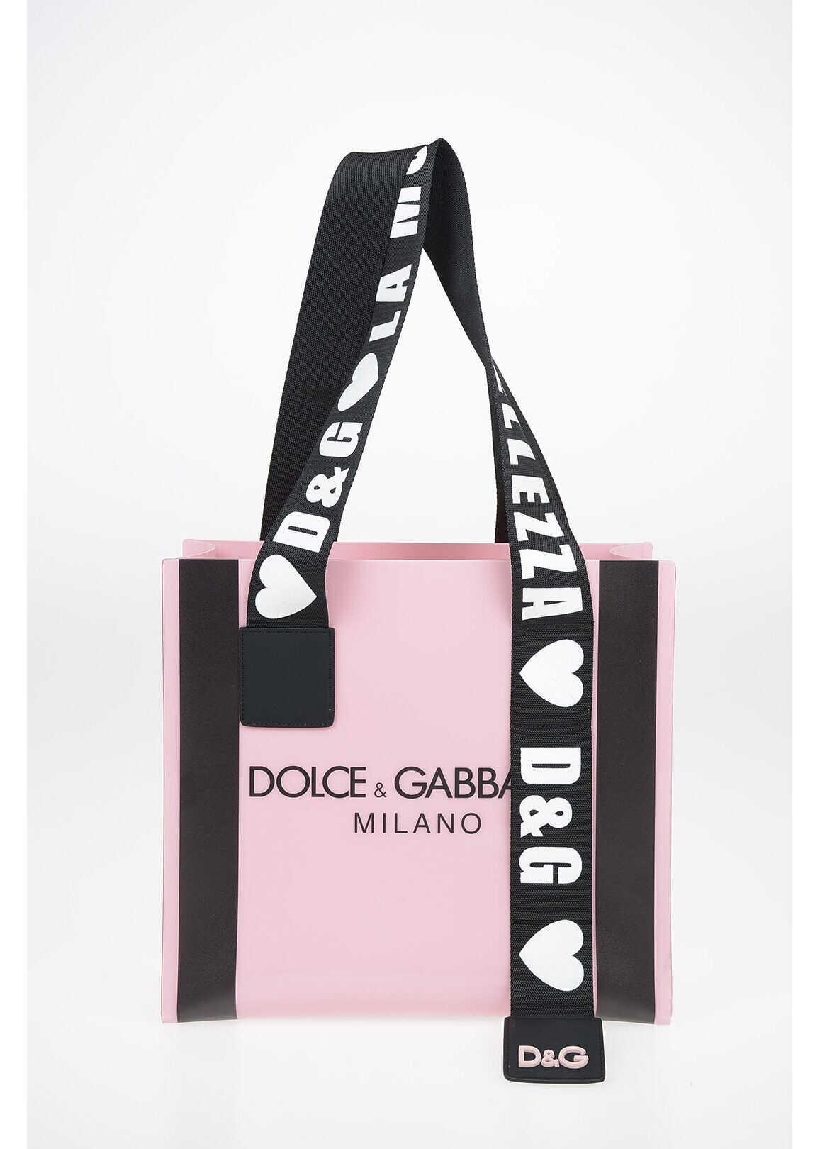 Dolce & Gabbana PVC Tote bag PINK imagine b-mall.ro