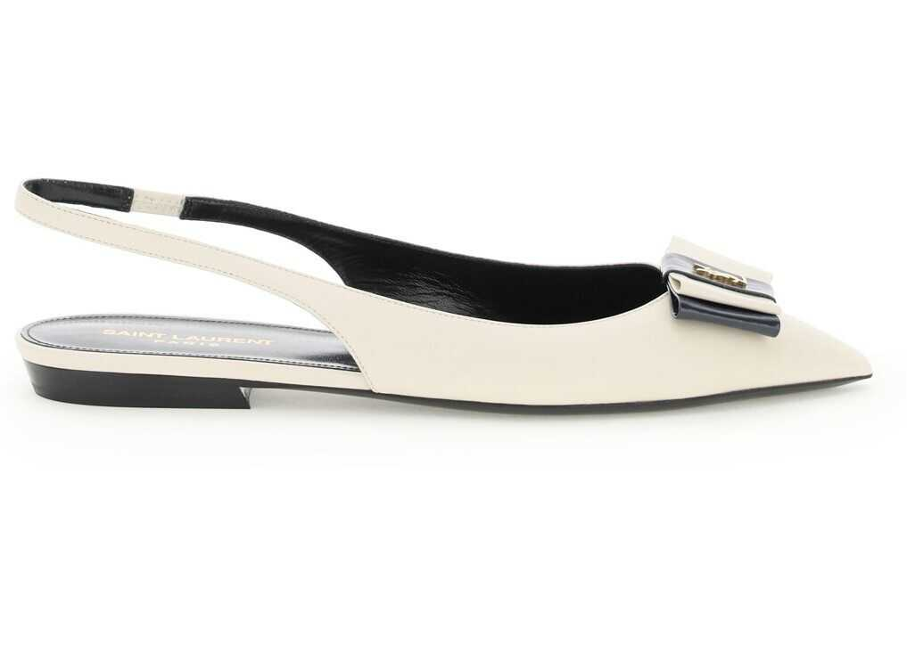 Saint Laurent Anais Slingback Pumps With Bow 649621 1ZJ10 PEARL NAVY imagine b-mall.ro
