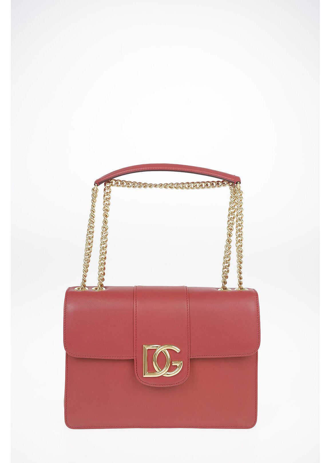 Dolce & Gabbana Leather DG MILLENIALS Shoulder Bag with Adjustable Shoulder BURGUNDY imagine b-mall.ro