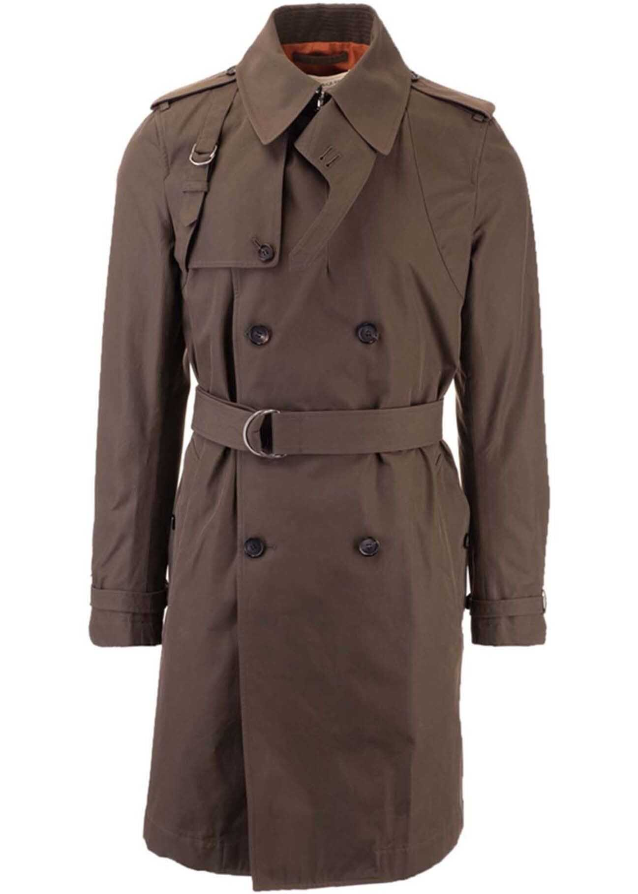 Alexander McQueen Double-Breasted Trench Coat In Khaki Green imagine