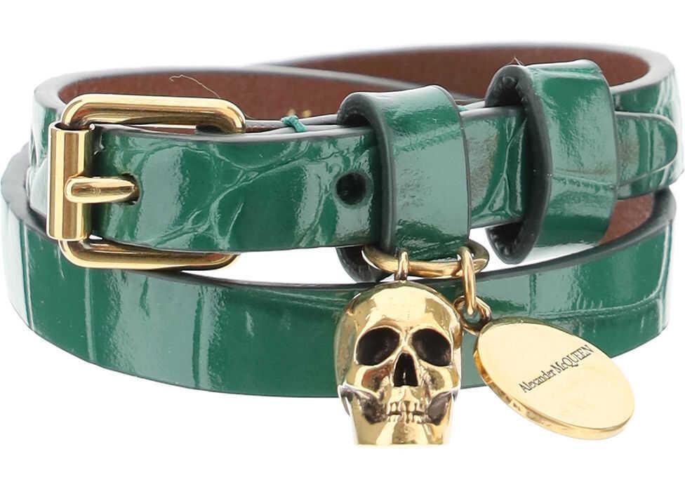 Alexander McQueen Double Wrap Skull Bracelet EMERALD