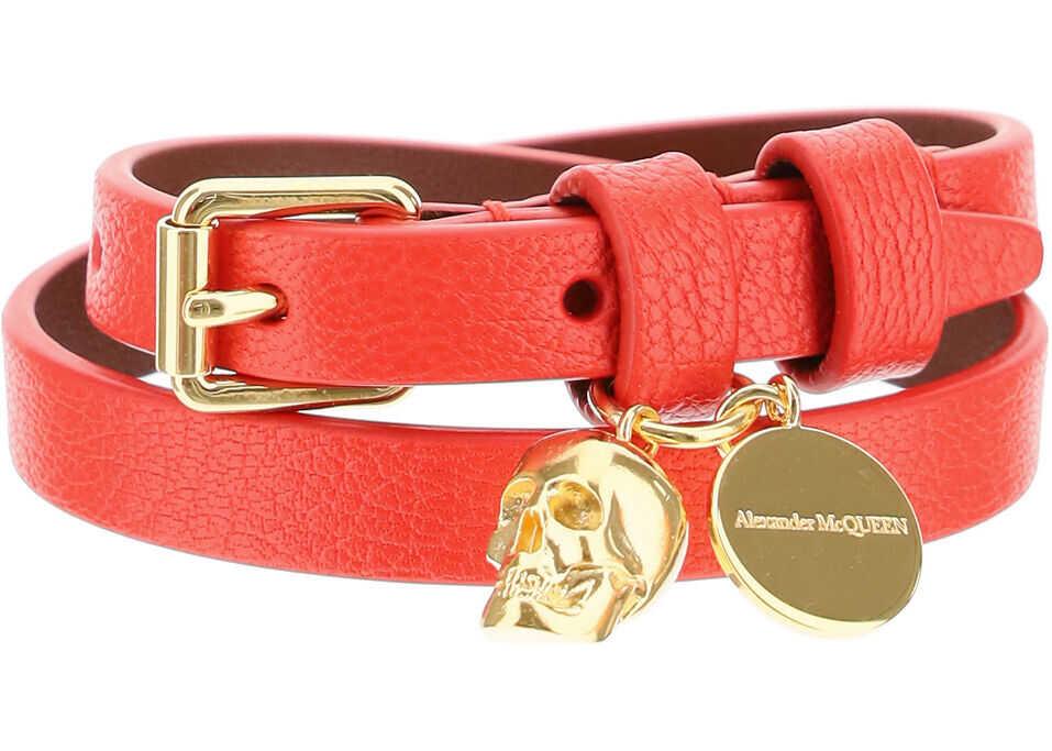 Alexander McQueen Double Wrap Skull Bracelet LUST RED