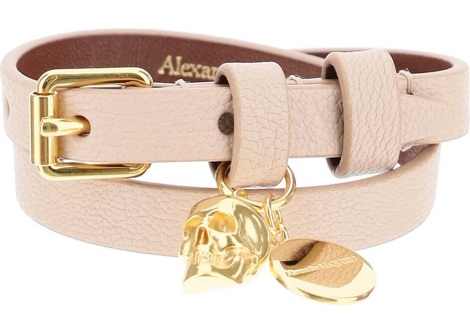 Alexander McQueen Double Wrap Skull Bracelet NUDE