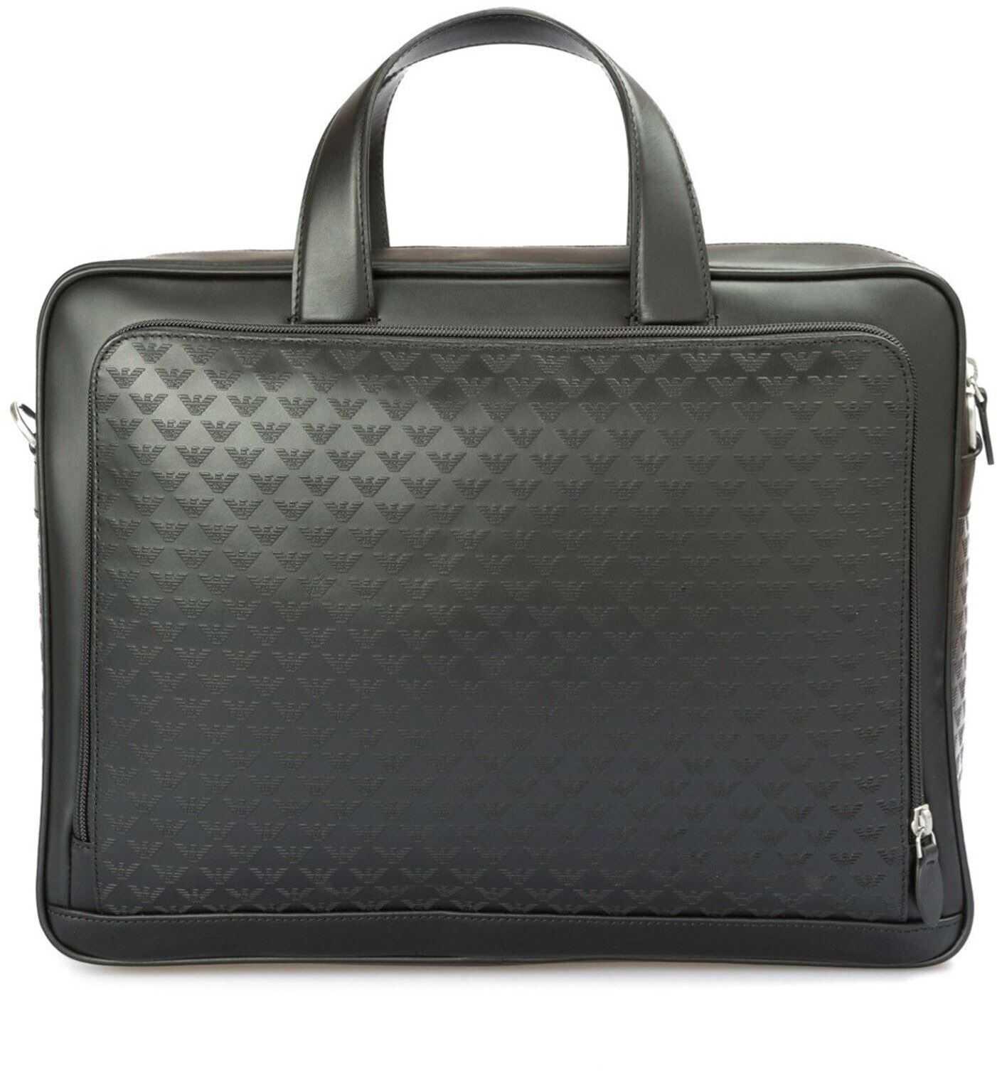 Emporio Armani All Over Embossed Logo Leather Briefcase In Black Y4P099YC04380001 Black imagine b-mall.ro