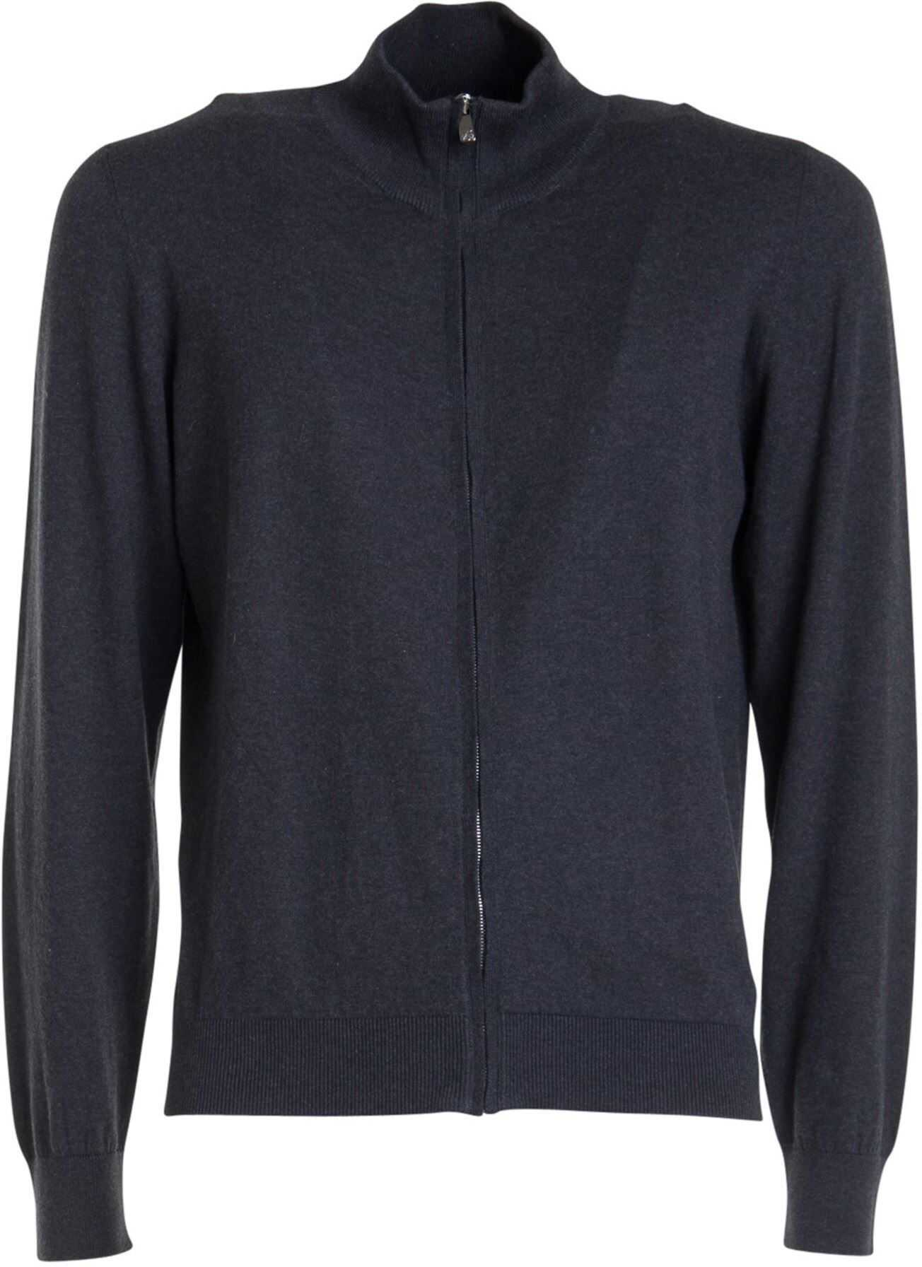 CORNELIANI Cotton-Cashmere Blend Cardigan Grey imagine