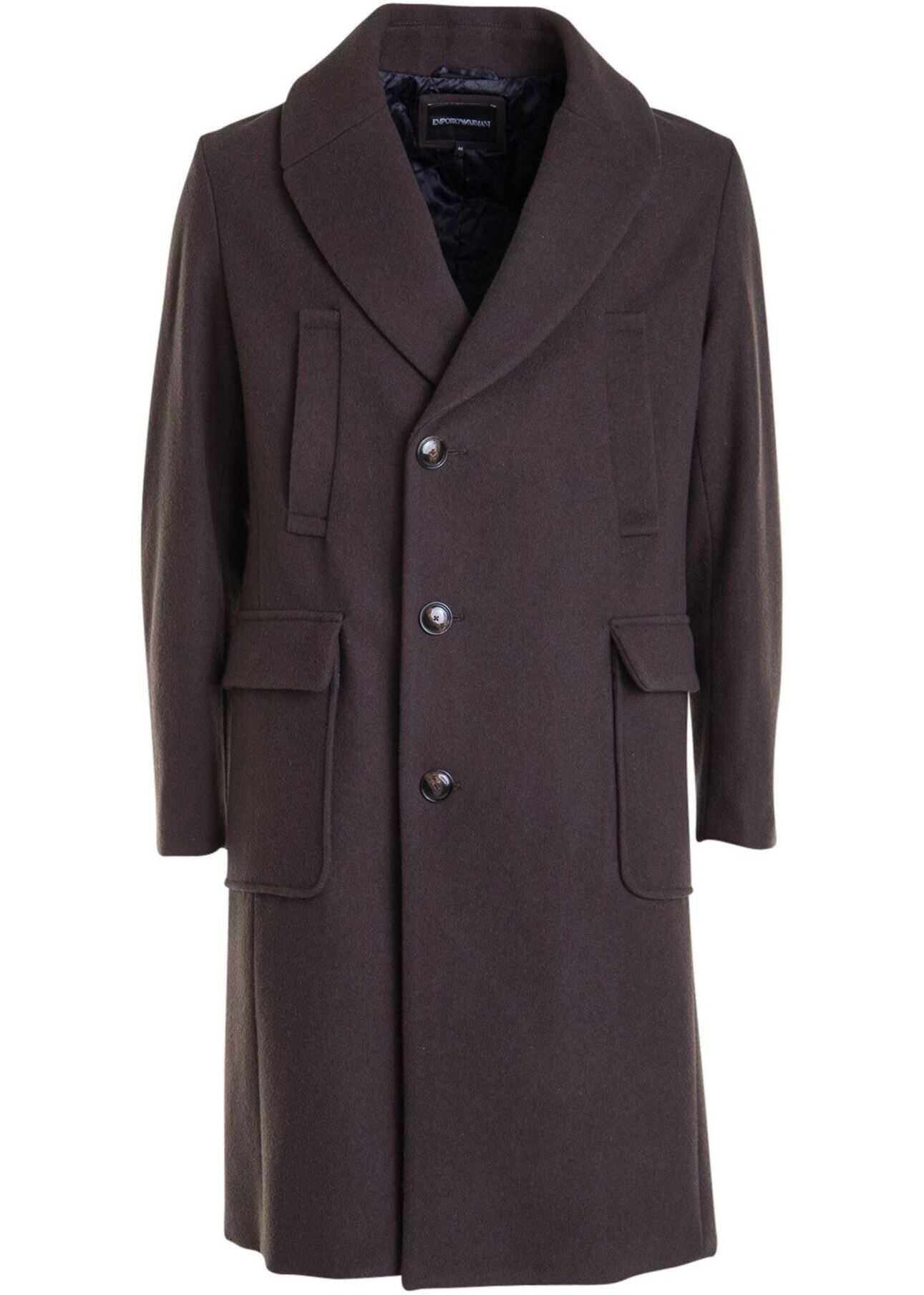 Emporio Armani Wool Cloth Knee Length Coat In Brown Brown imagine