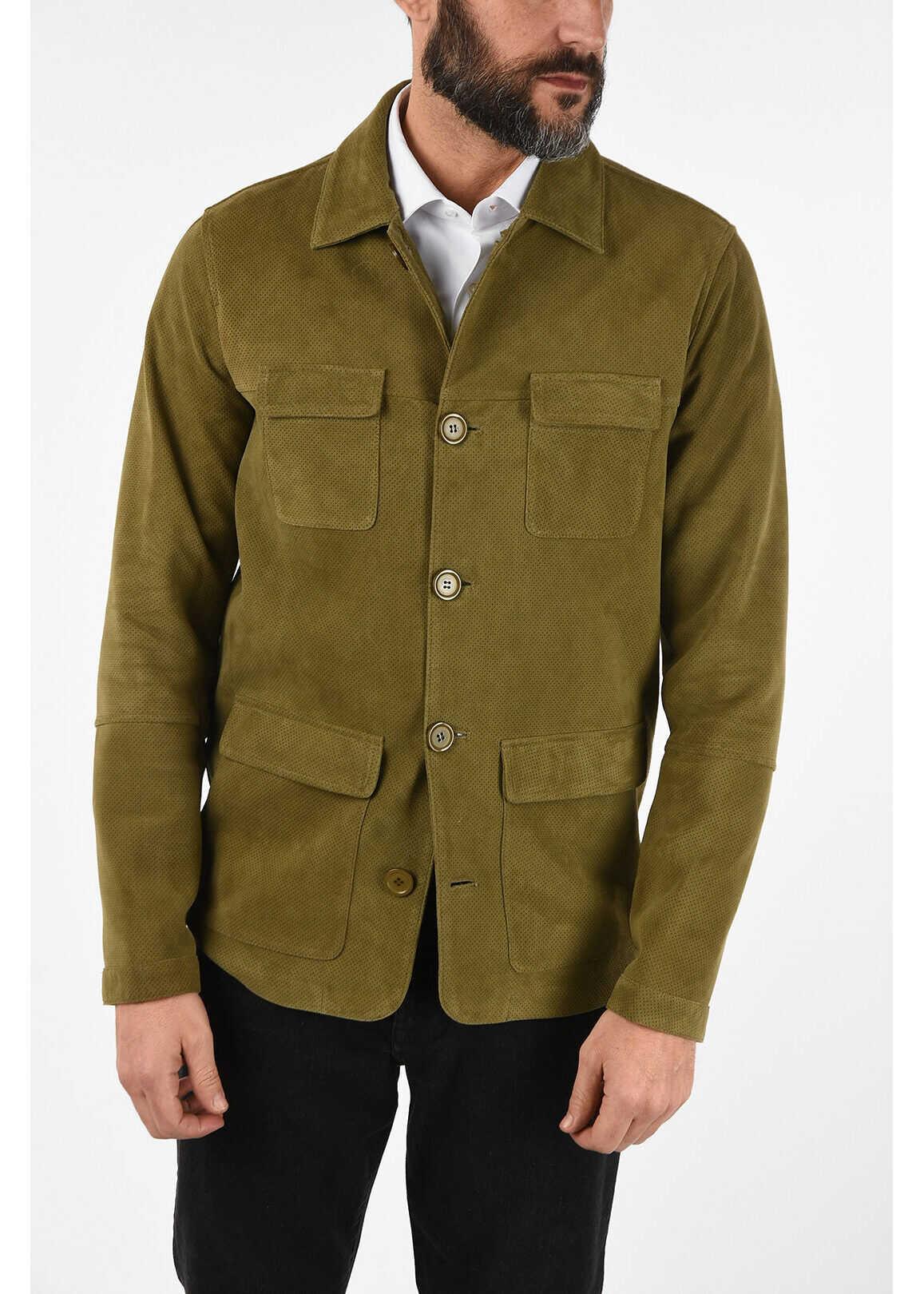 CORNELIANI CC COLLECTION O.WEAR Leather PERFORATED Jacket GREEN imagine
