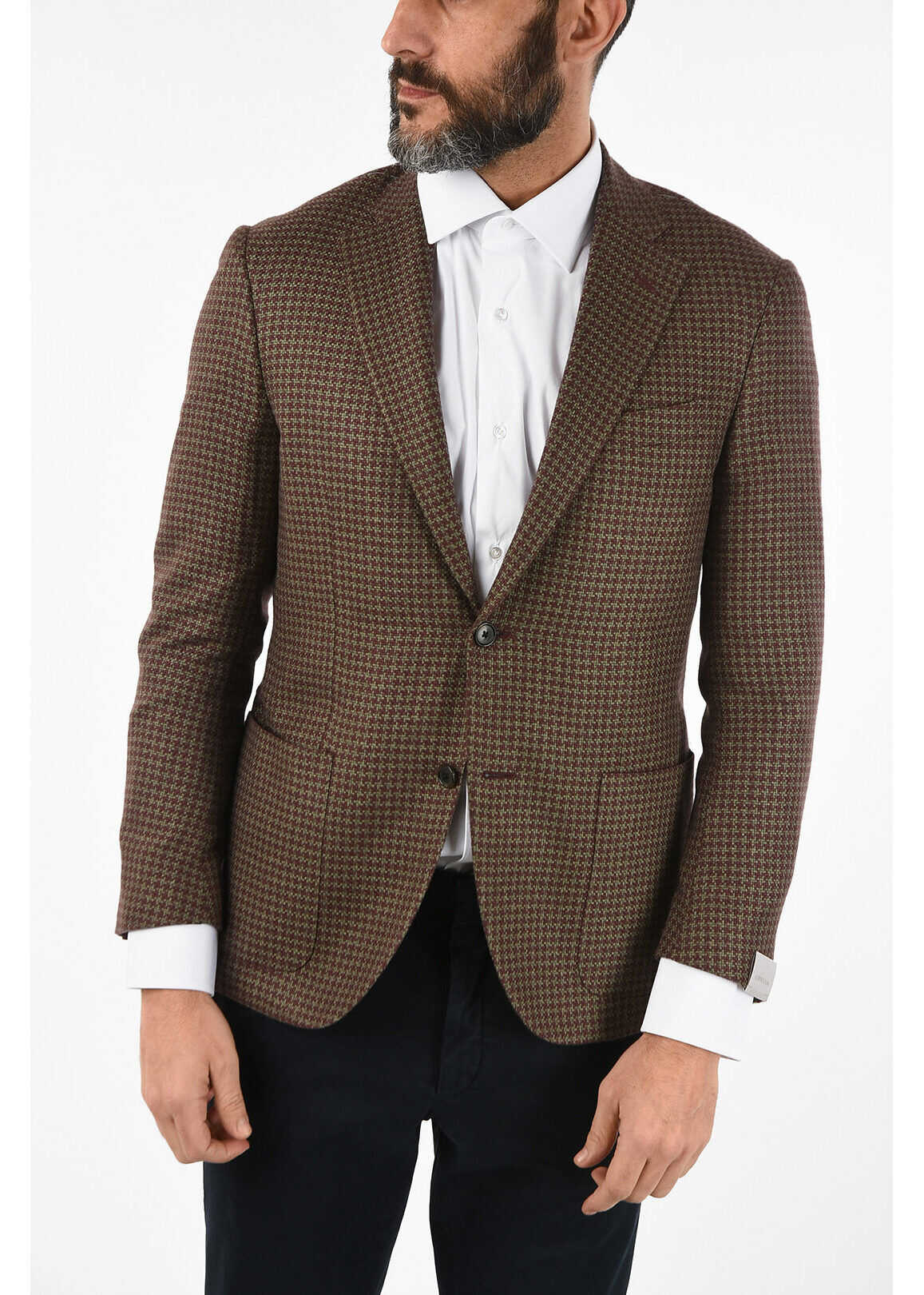 CORNELIANI houndstooth silk and cashmere LEADER SOFT drop 7R blazer MULTICOLOR imagine