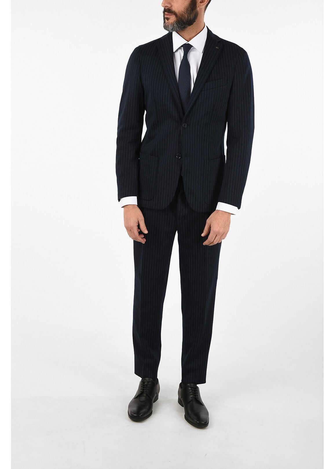 CORNELIANI CC COLLECTION RESET pinstriped drop 8R suit BLUE imagine