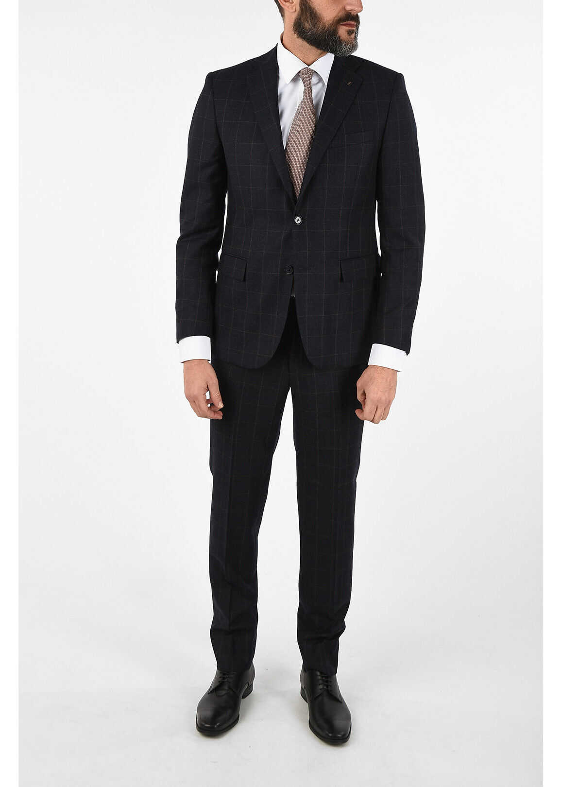 CORNELIANI CC COLLECTION REFINED check virgin wool drop 7R suit BLUE imagine