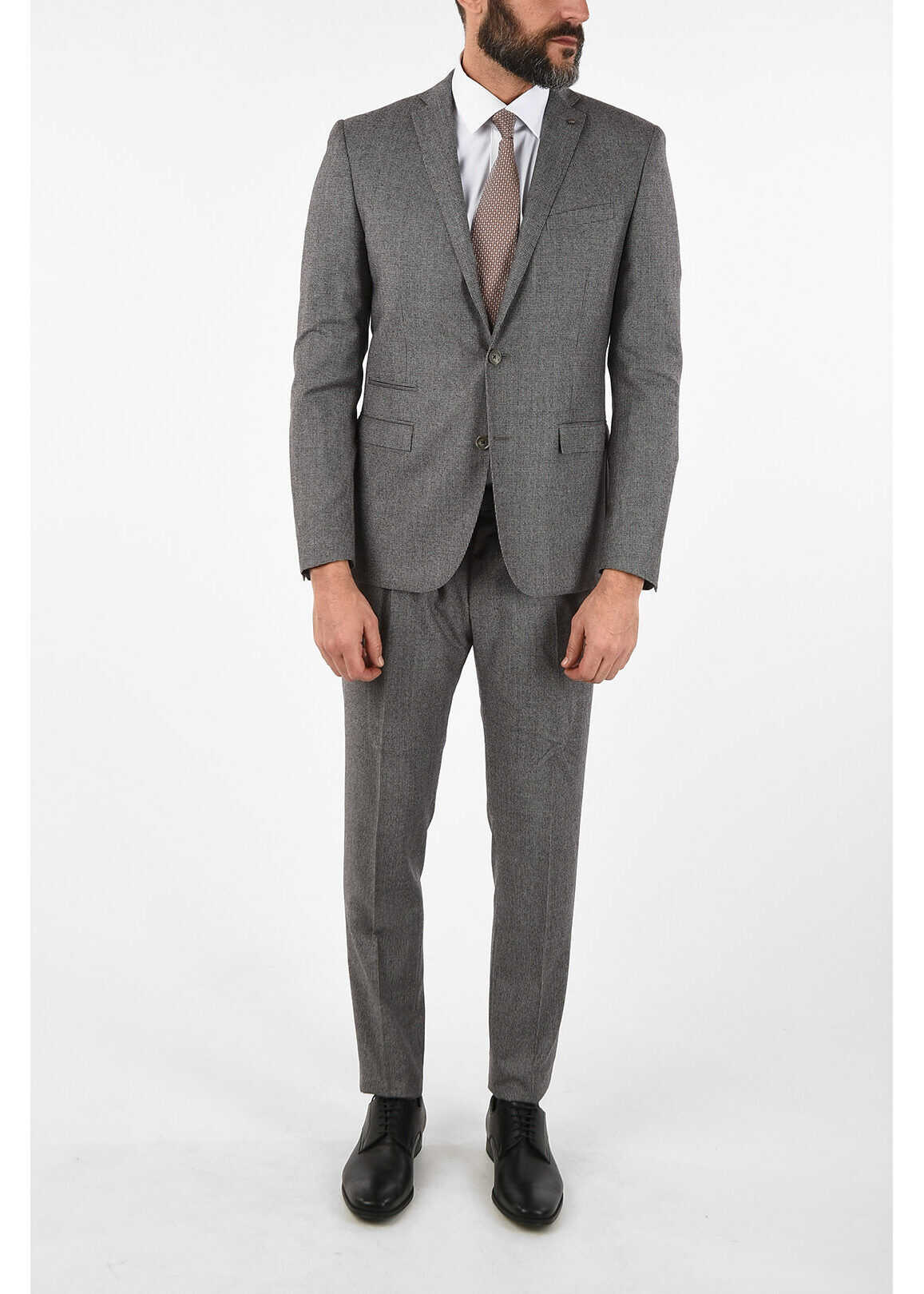 CORNELIANI CC COLLECTION RESET houndstooth virgin wool drop 8R suit GRAY imagine