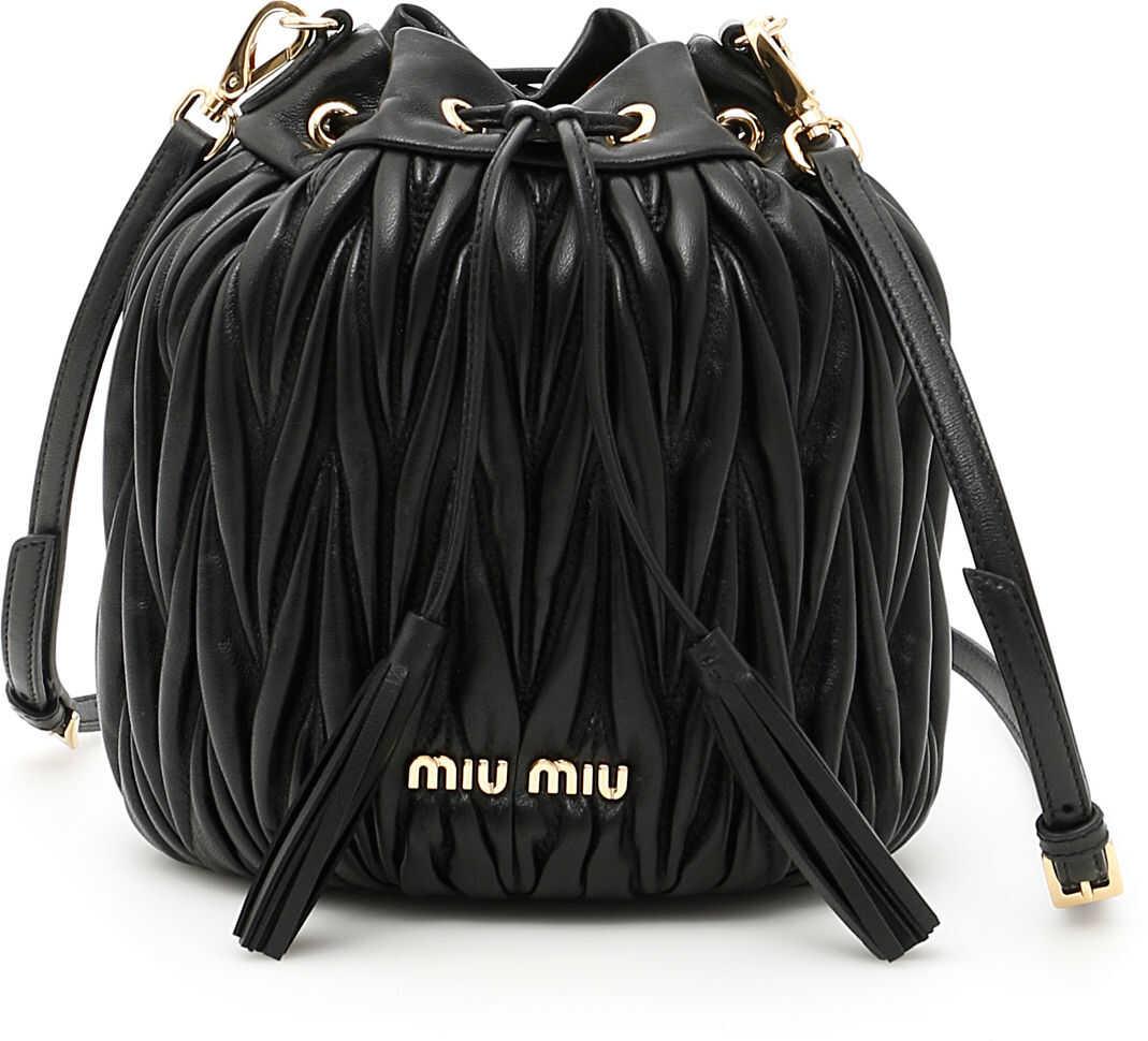 Miu Miu Quilted Shoulder Bucket Bag 5BE014 V OOO N88 NERO imagine b-mall.ro