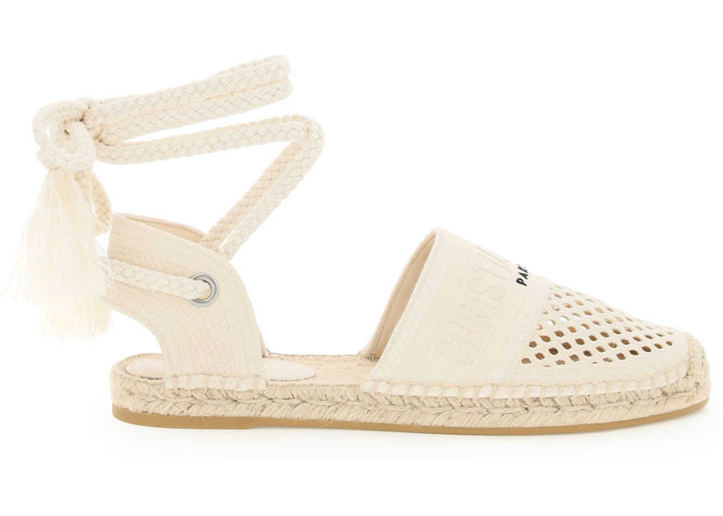 Dior Granville Espadrilles With Mesh Embroidered Laces KCB595EMR CREAM imagine b-mall.ro