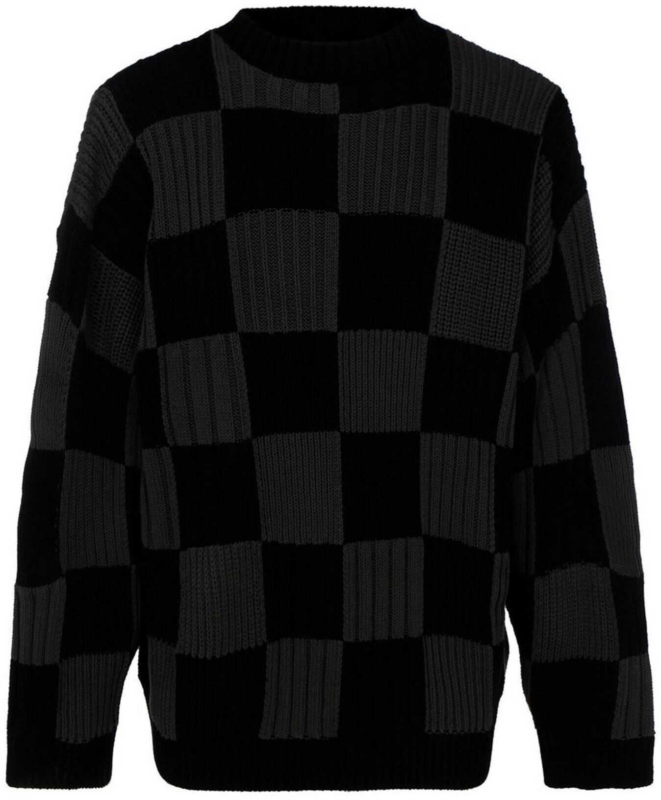 Balenciaga Check Cotton Jumper In Black Black imagine