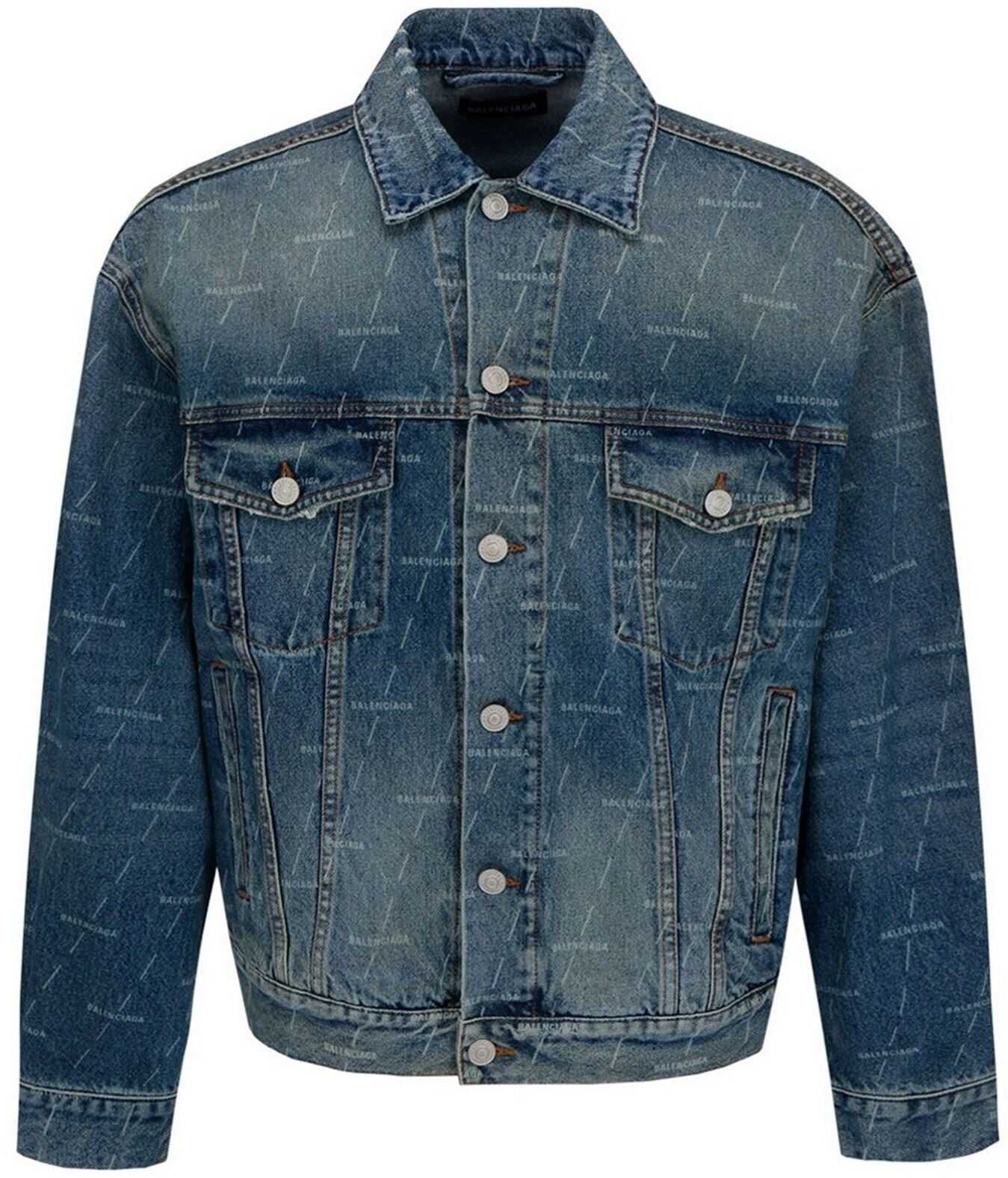 Balenciaga Logo Print Denim Jacket In Blue Blue imagine