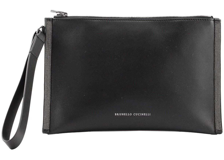 Brunello Cucinelli Leather Pouch In Black MBSMD2179C101 Black imagine b-mall.ro