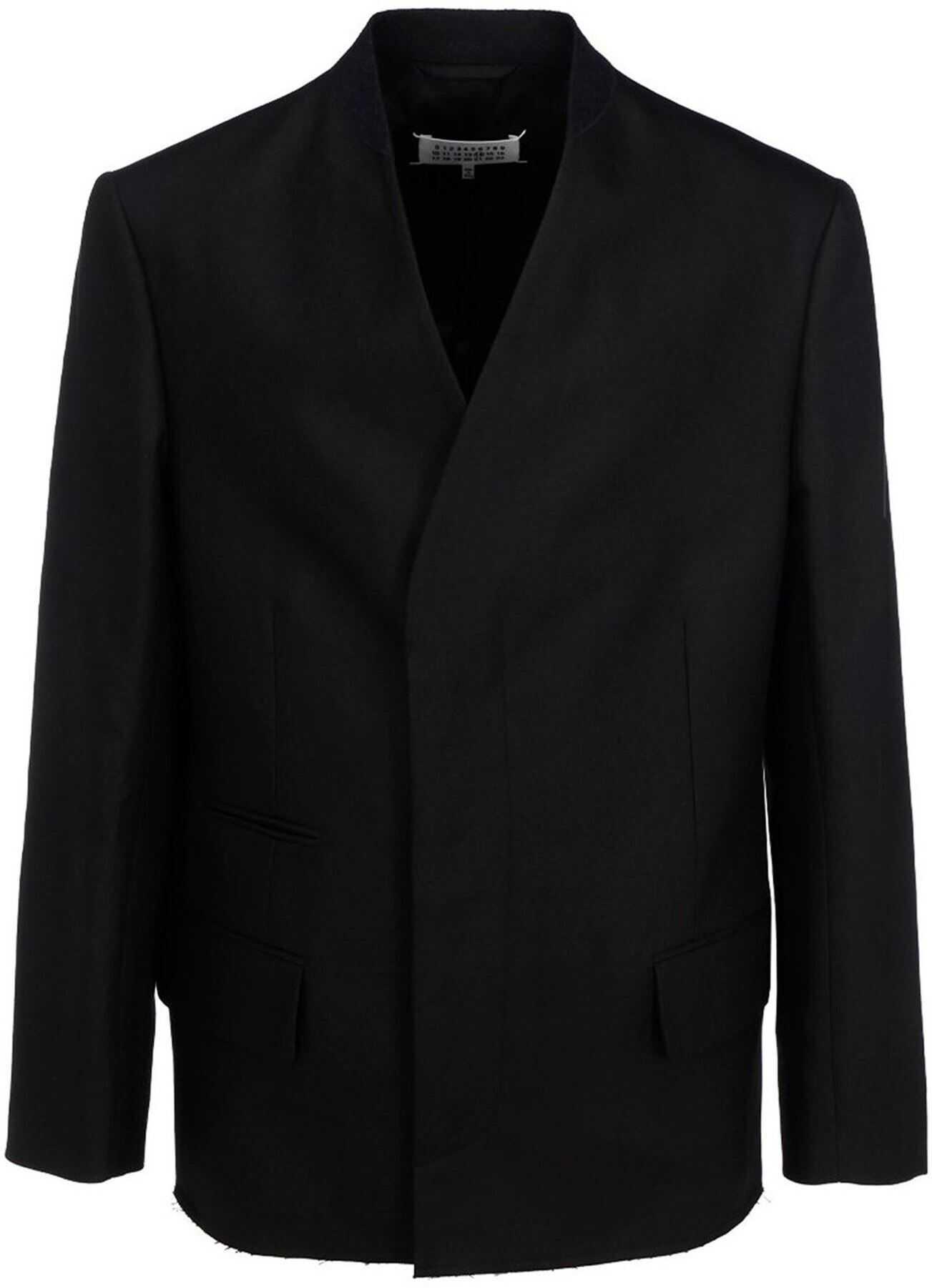 Maison Margiela Minimal Cotton Linen Blend Blazer In Black Black imagine