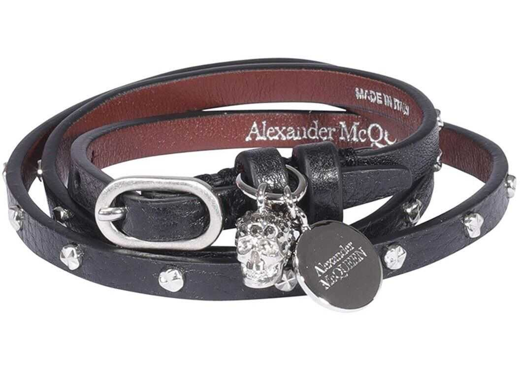 Alexander McQueen Double Wrap Bracelet In Black Black