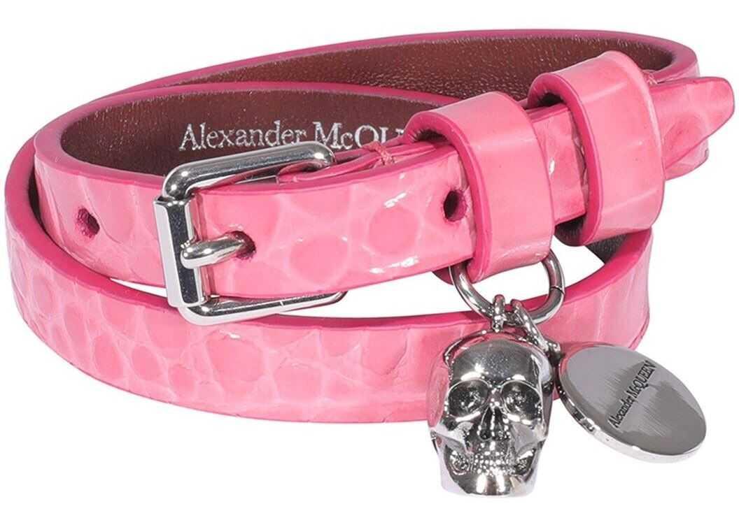 Alexander McQueen Skull Bracelet In Pink Pink