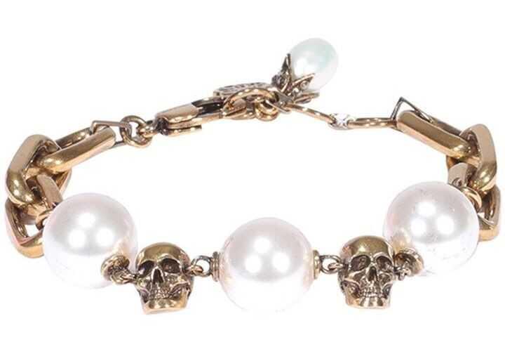 Alexander McQueen Skull Bracelet With Pearls Gold