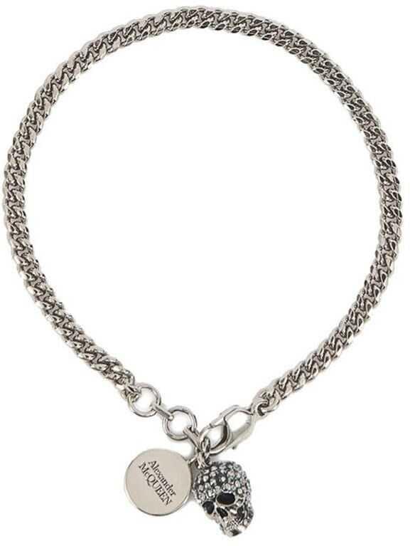 Alexander McQueen Skull Bracelet In Silver Color Silver