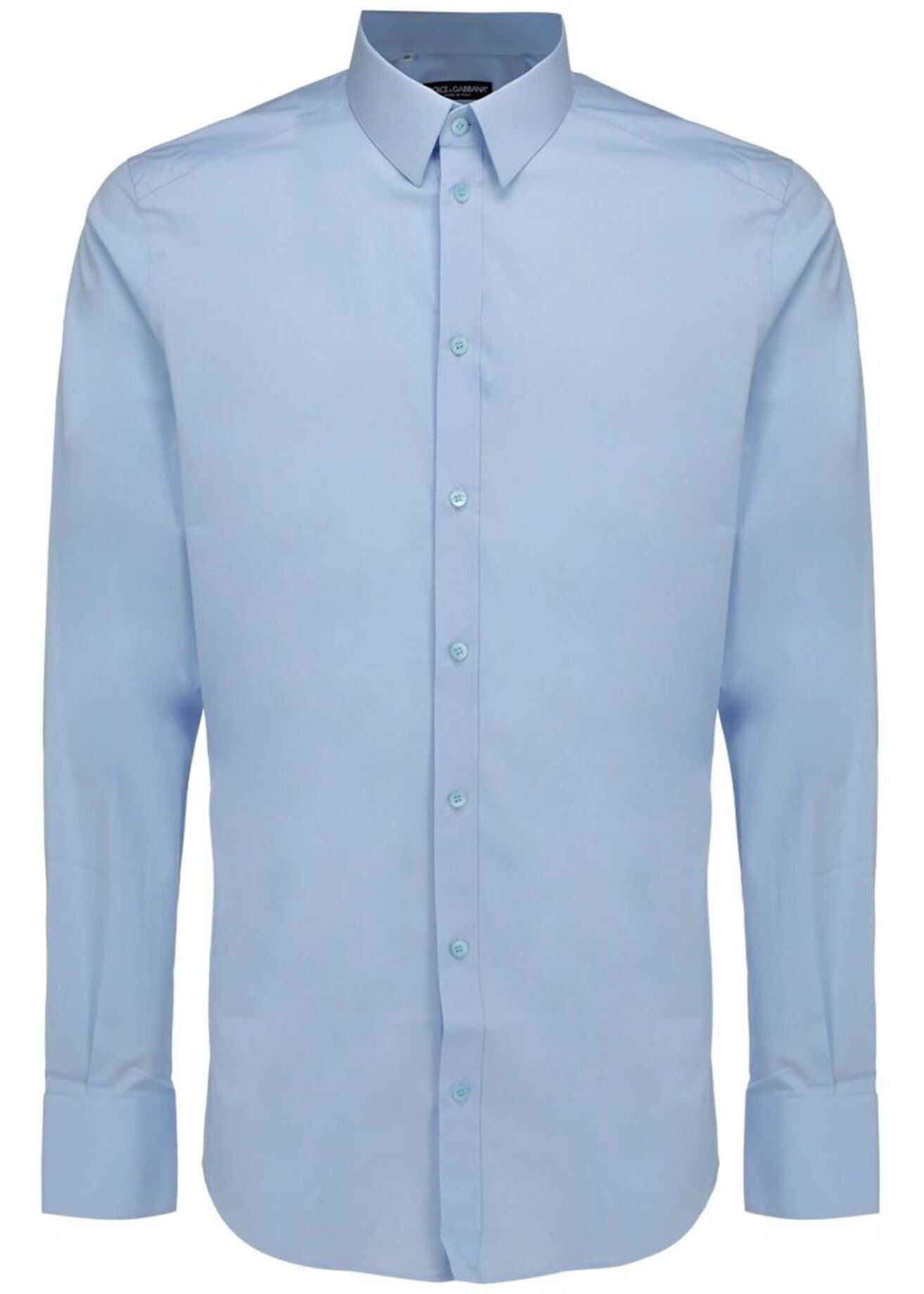 Dolce & Gabbana Cotton Poplin Shirt In Light Blue Light Blue imagine