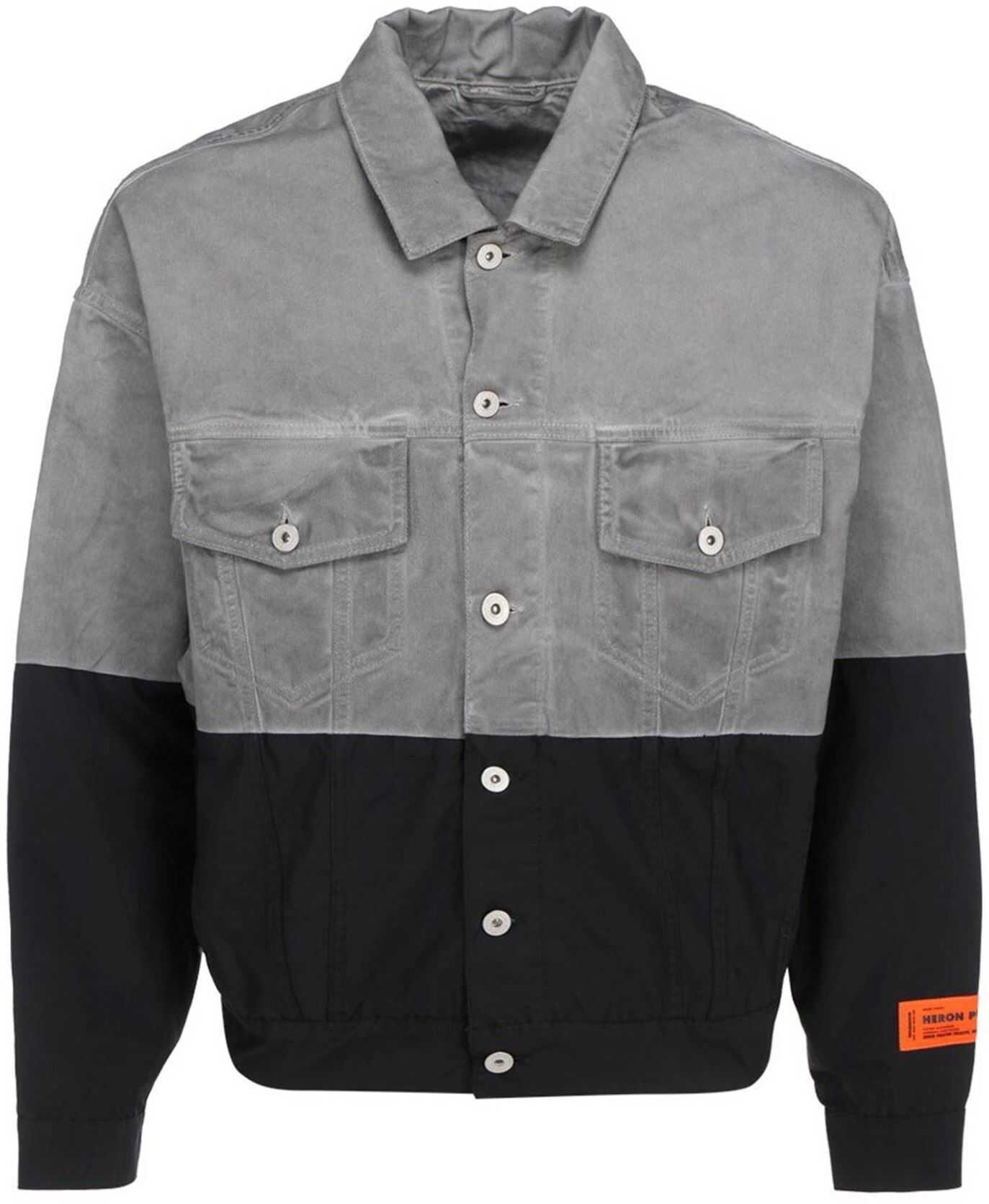 Heron Preston Denim And Nylon Jacket In Grey Grey imagine