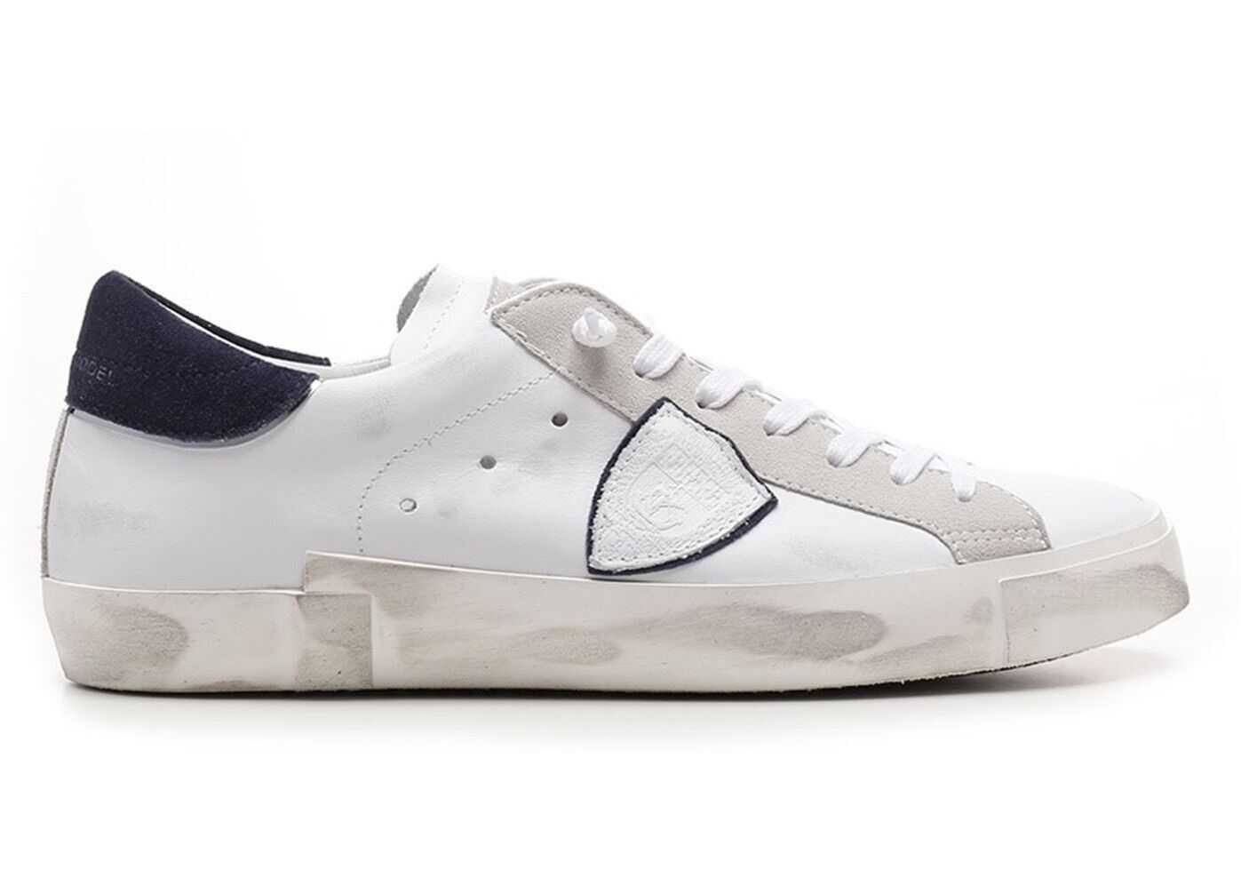 Philippe Model Branded Leather Sneakers In White PRLUVX22 White imagine b-mall.ro