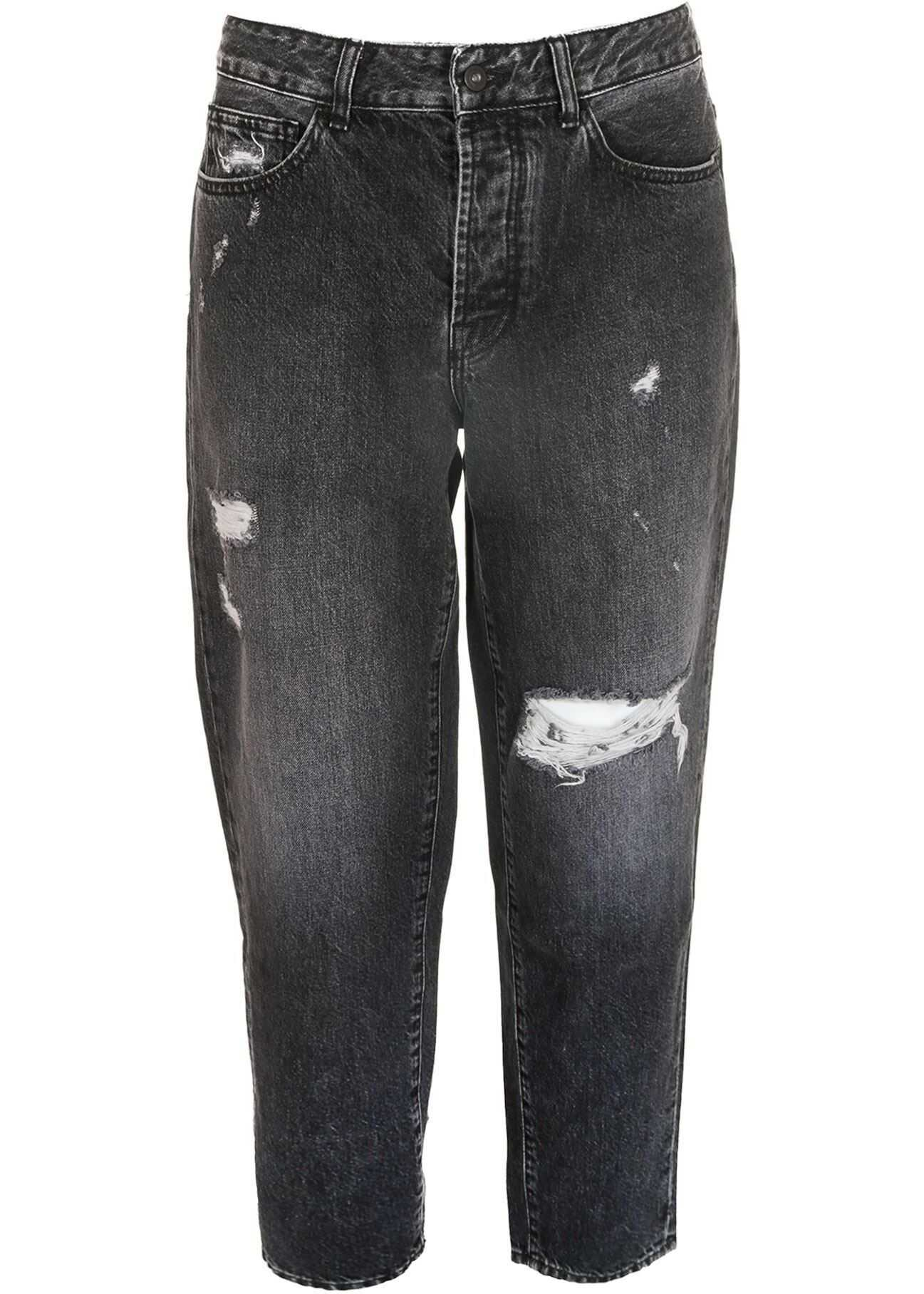 Marcelo Burlon Distress Vintage Carrot Jeans In Black Black imagine