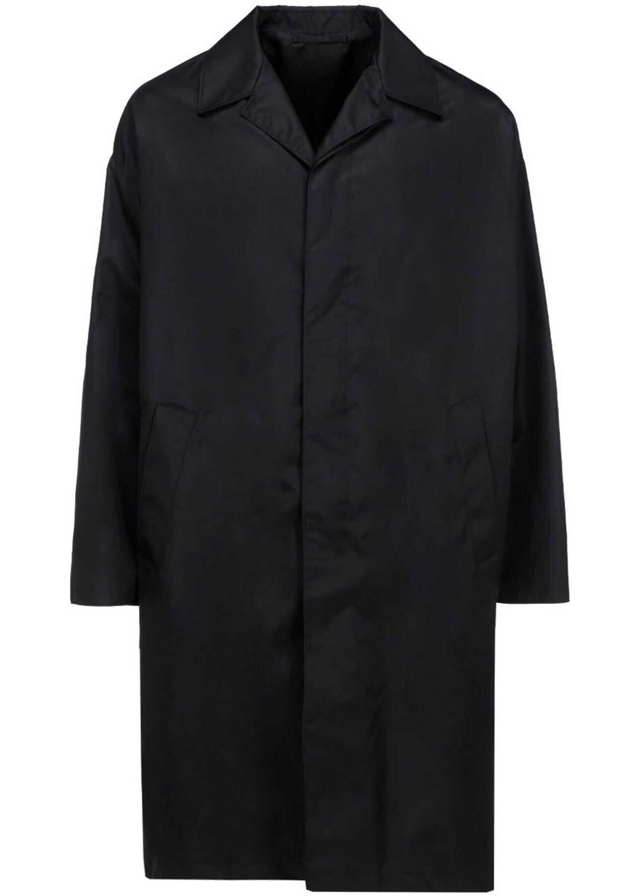 Prada Recycled Fabric Waterproof Coat In Black Black imagine