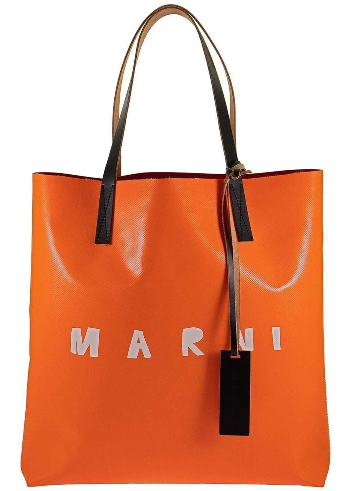 Marni Logo Print Pvc Tote In Orange And Red SHMPQ10A06P3660Z2N32 Orange imagine b-mall.ro