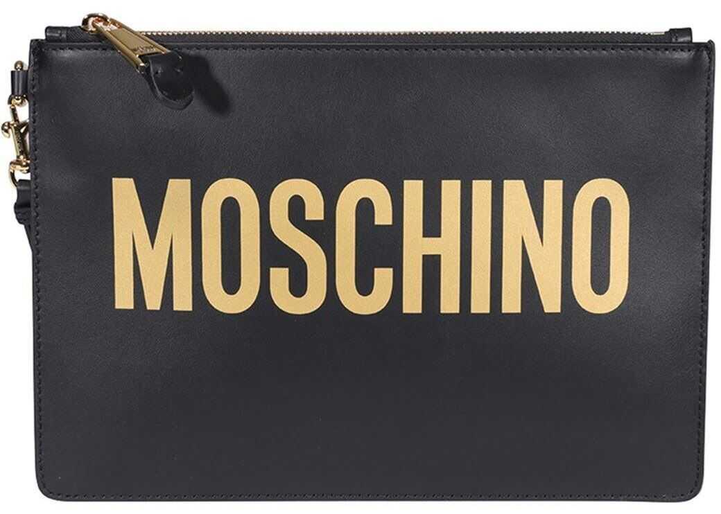 Moschino Gold-Tone Detail Clutch In Black 840580012555 Black imagine b-mall.ro