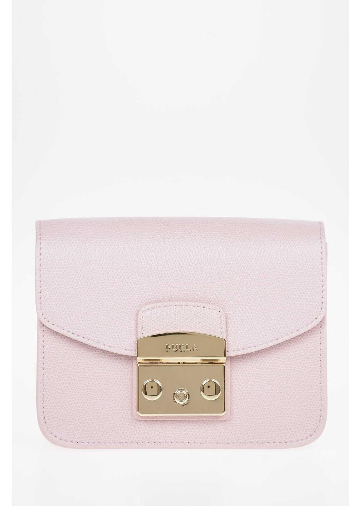 Furla Leather METROPOLIS Mini Bag with Shoulder Chain PINK imagine b-mall.ro