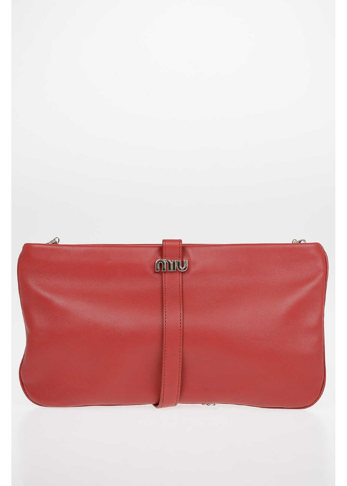 Miu Miu Soft Leather Pouch with Removable Shoulder ChaIn PINK imagine b-mall.ro
