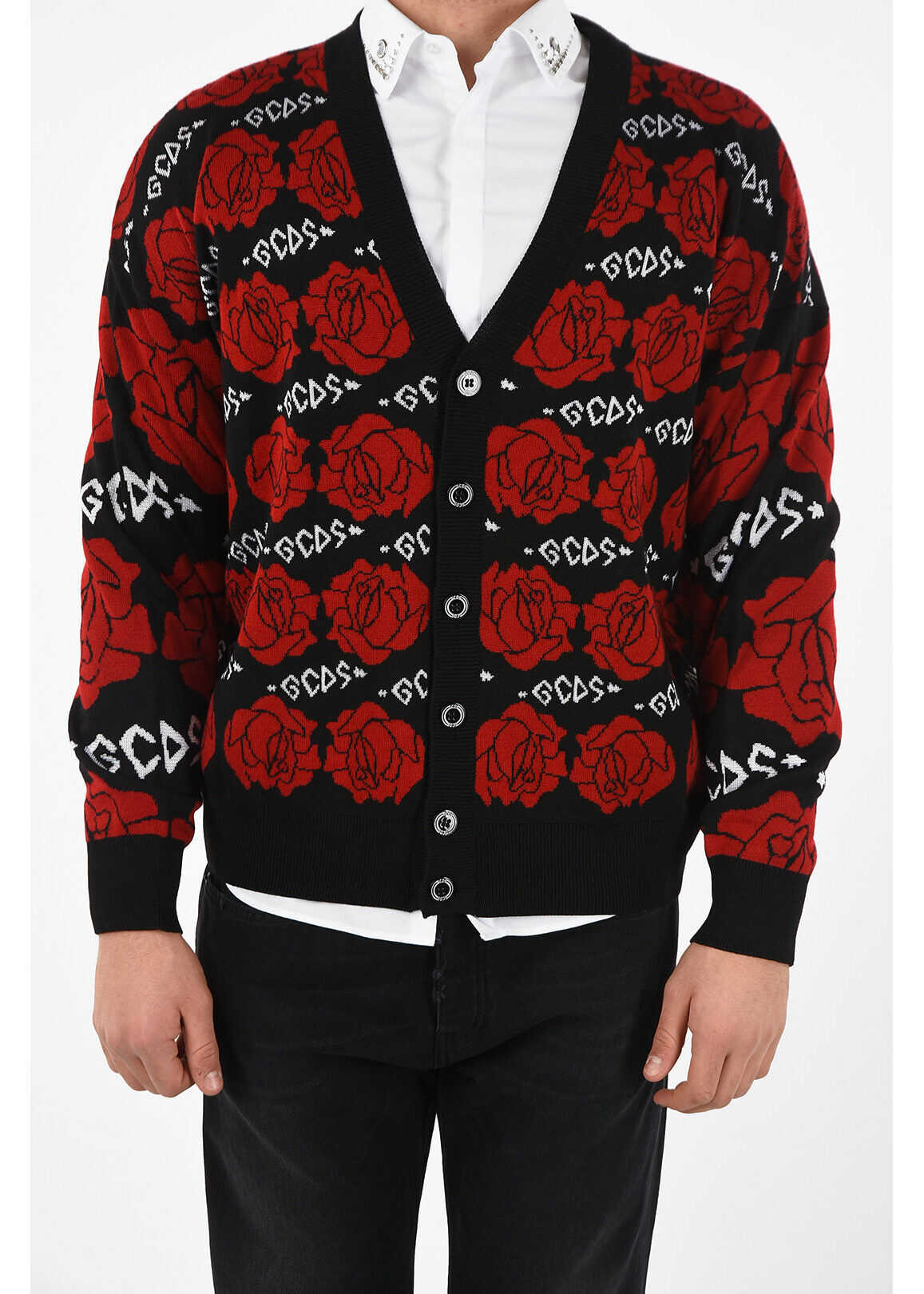 GCDS Embroidered Cardigan RED imagine