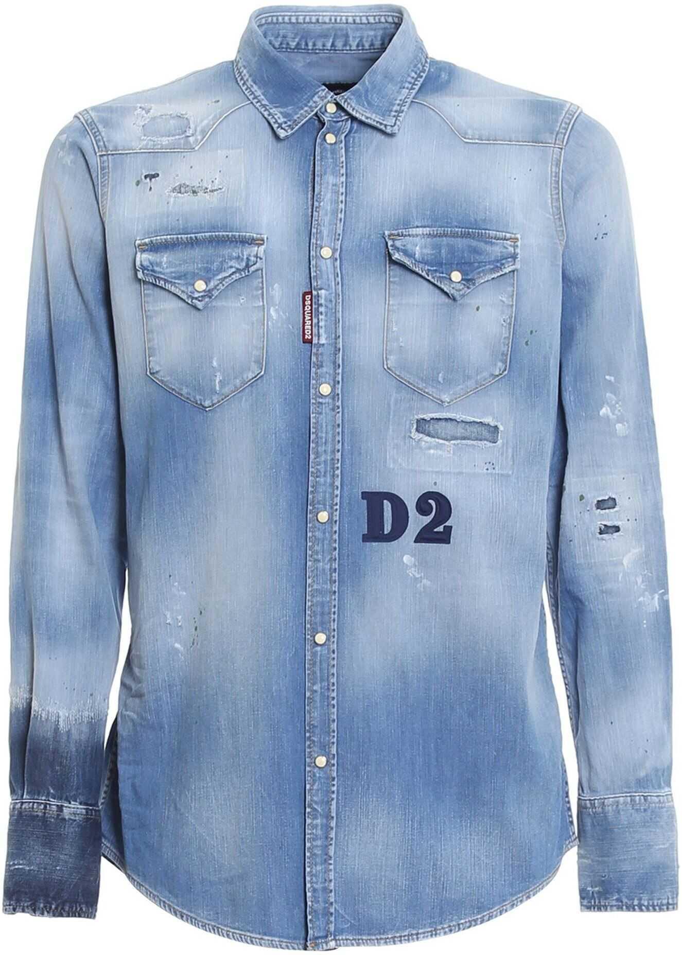 DSQUARED2 Distressed Effect Western Shirt In Light Blue Light Blue imagine