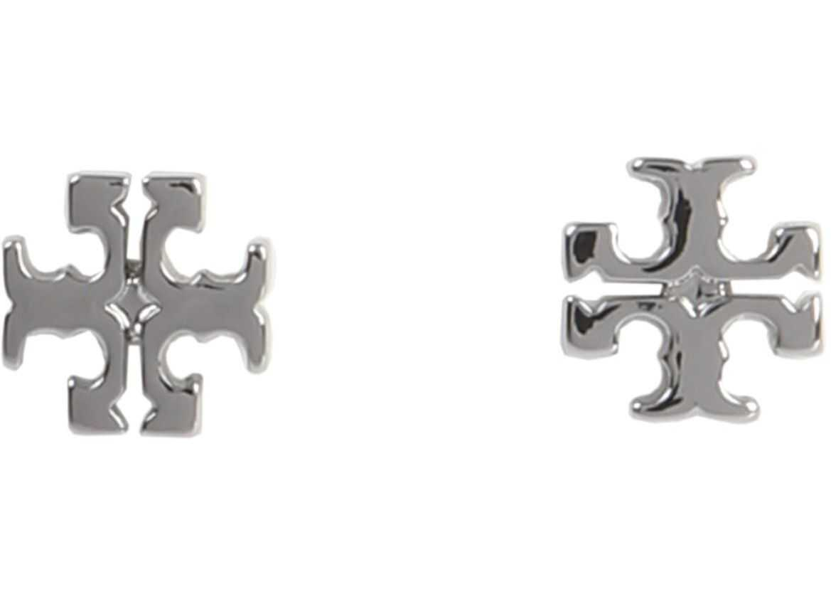 Tory Burch Logo Stud Earrings SILVER
