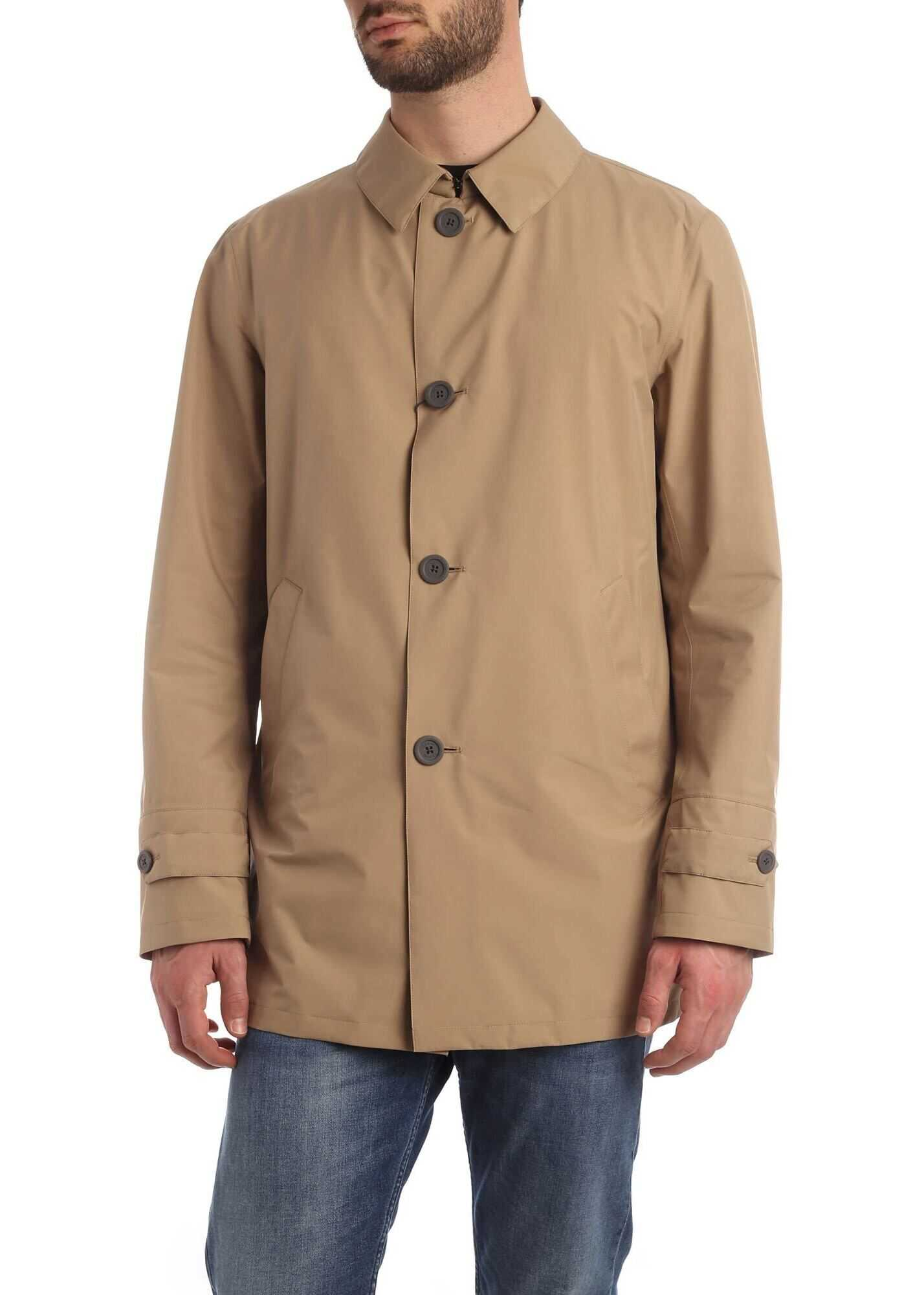 Herno Overcoat In Camel Color With Hat Camel imagine